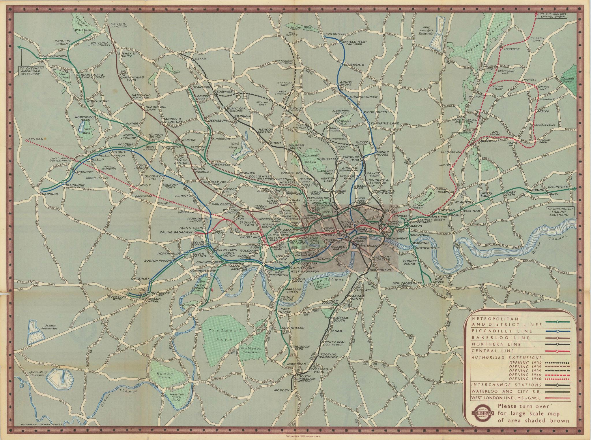 London Transport Underground Railway map #1 1938 old vintage plan chart