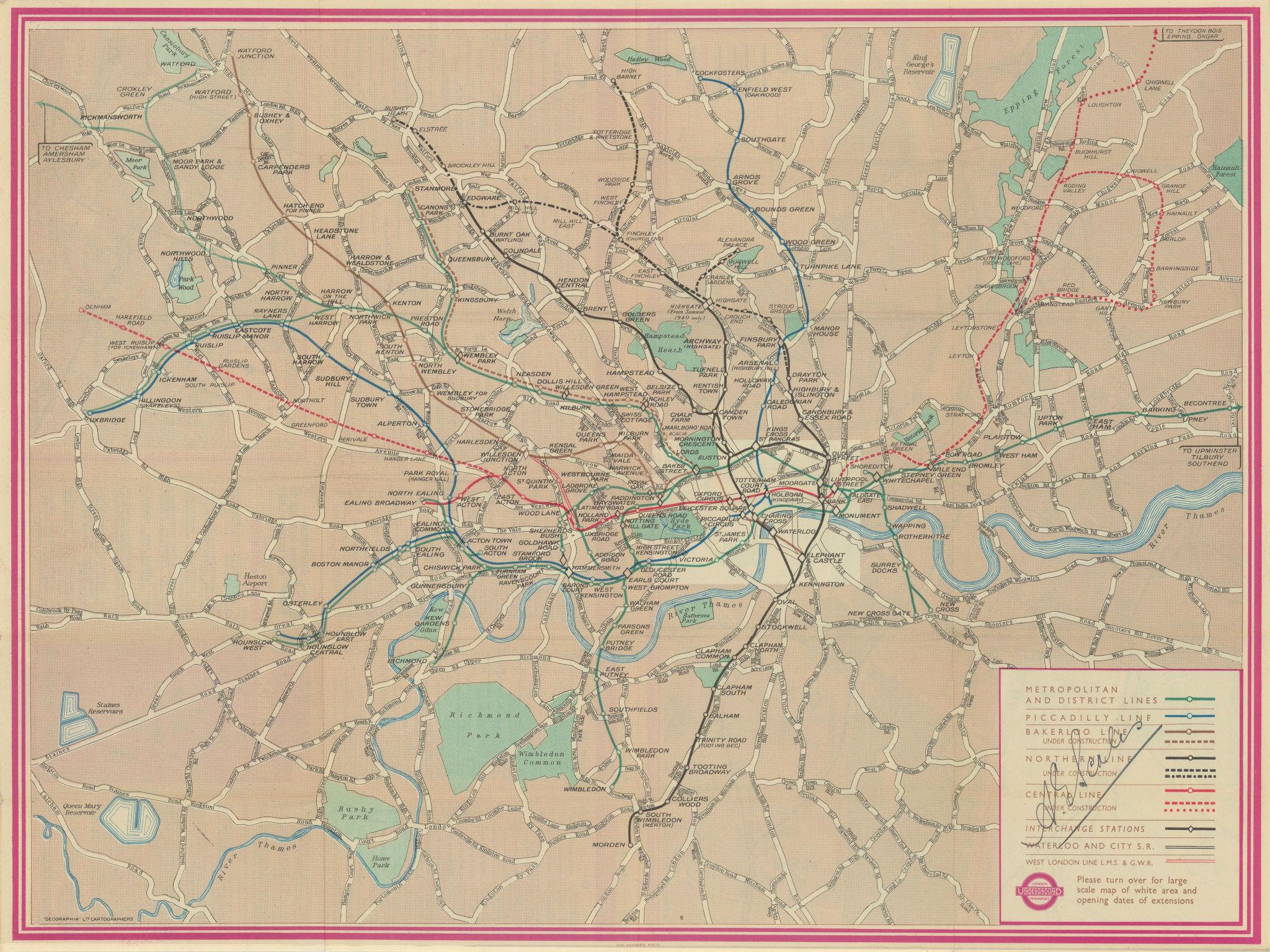 London Transport Underground map #3 1939 old vintage plan chart