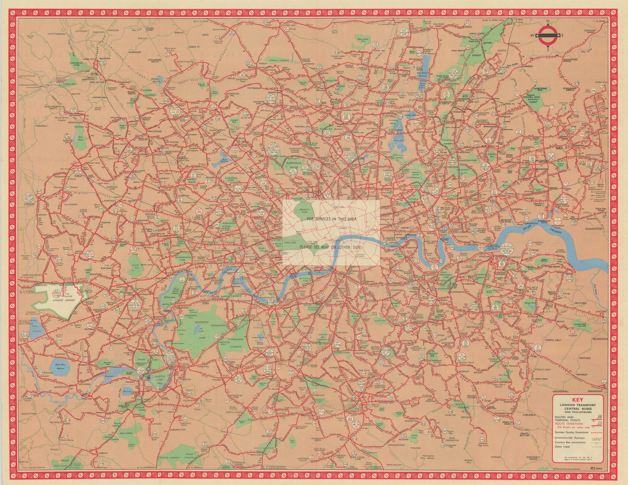 London Transport Bus map Central Area Buses Trolleybuses. LEWIS #2 1960