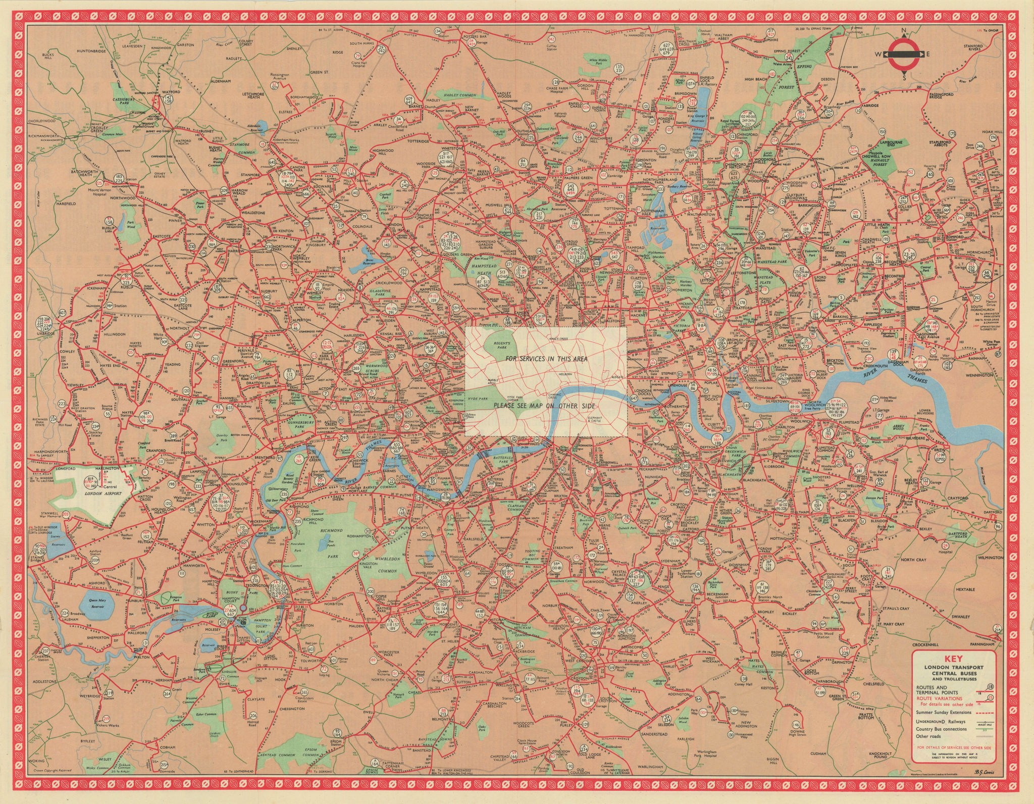 London Transport Bus map Central Area inc. Trolleybuses. LEWIS #3 1960 old