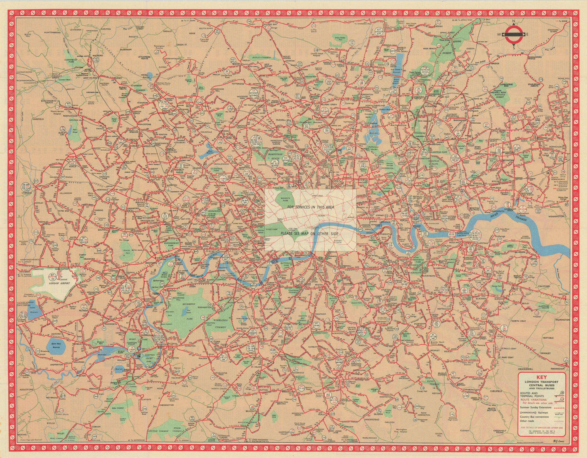 London Transport Bus map Central Area inc. Trolleybuses. LEWIS #4 1960 old