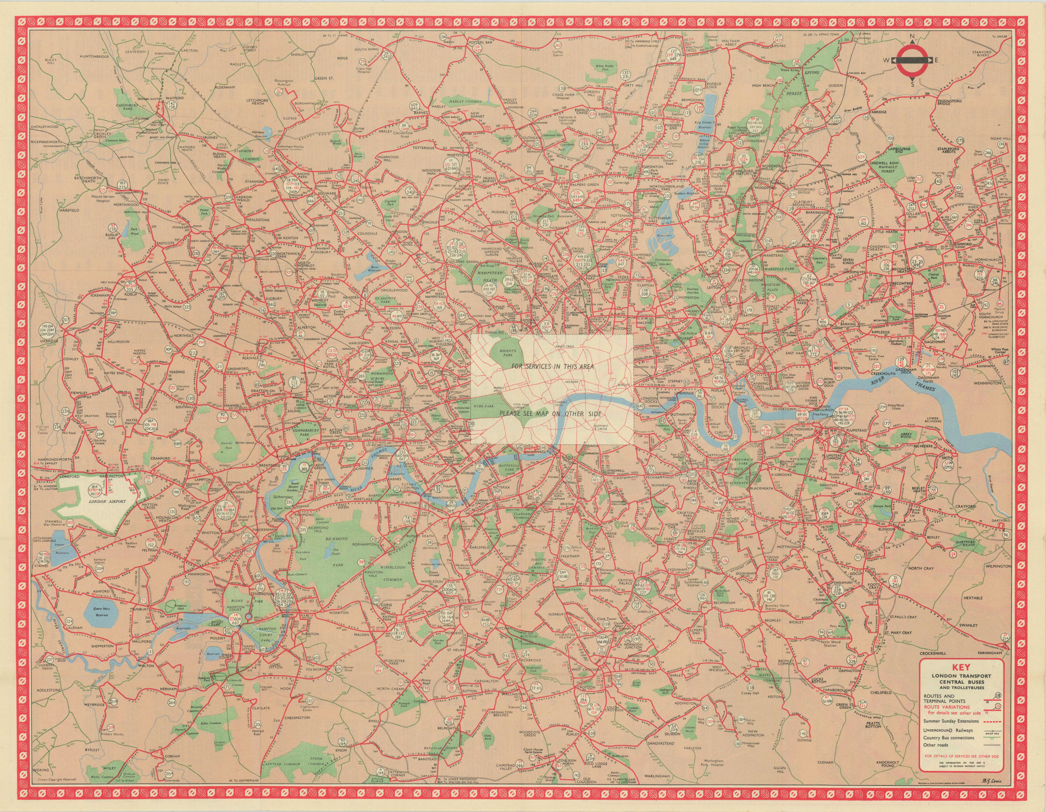 London Transport Bus map Central Area inc. Trolleybuses. LEWIS #2 1961 old