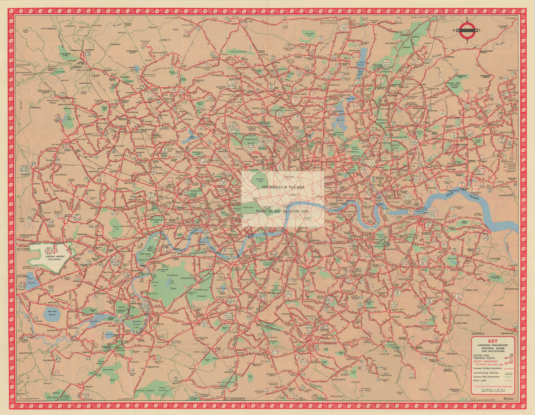London Transport Bus map Central Area inc. Trolleybuses. LEWIS #3 1961 old