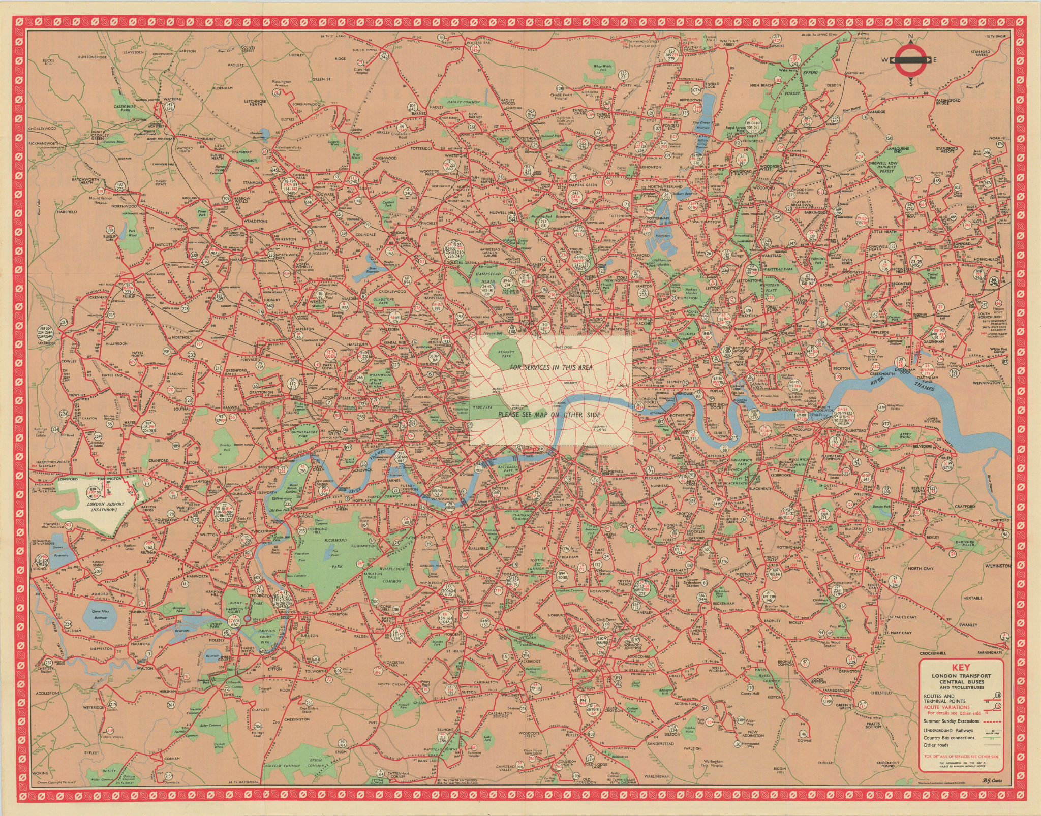 London Transport Bus map Central Area inc. Trolleybuses. LEWIS #4 1961 old