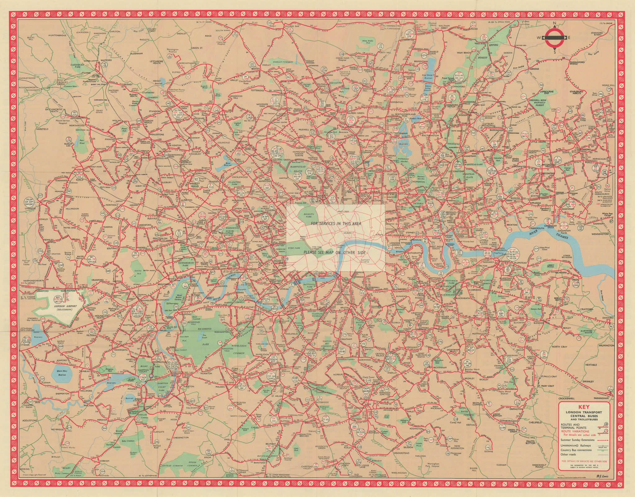 London Transport Bus map Central Area inc. Trolleybuses. LEWIS #1 1962 old