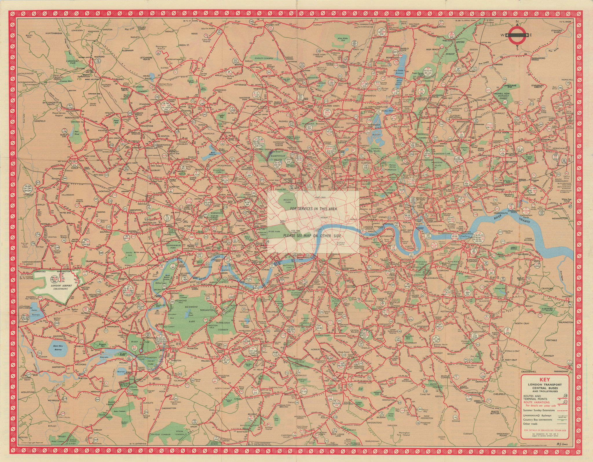 London Transport Central Buses map and list of routes. LEWIS #2 1962 old