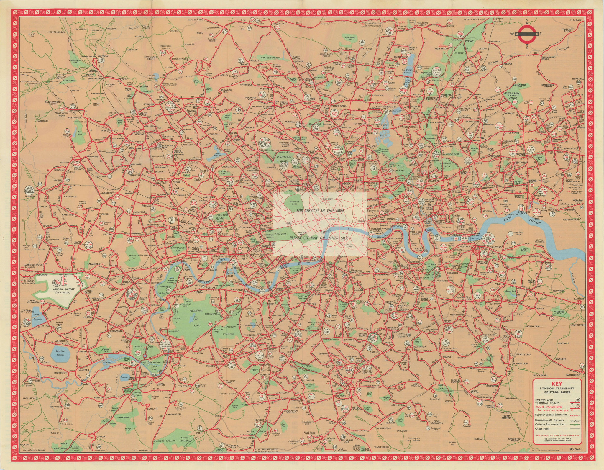 London Transport Central Buses map and list of routes. LEWIS #3 1962 old
