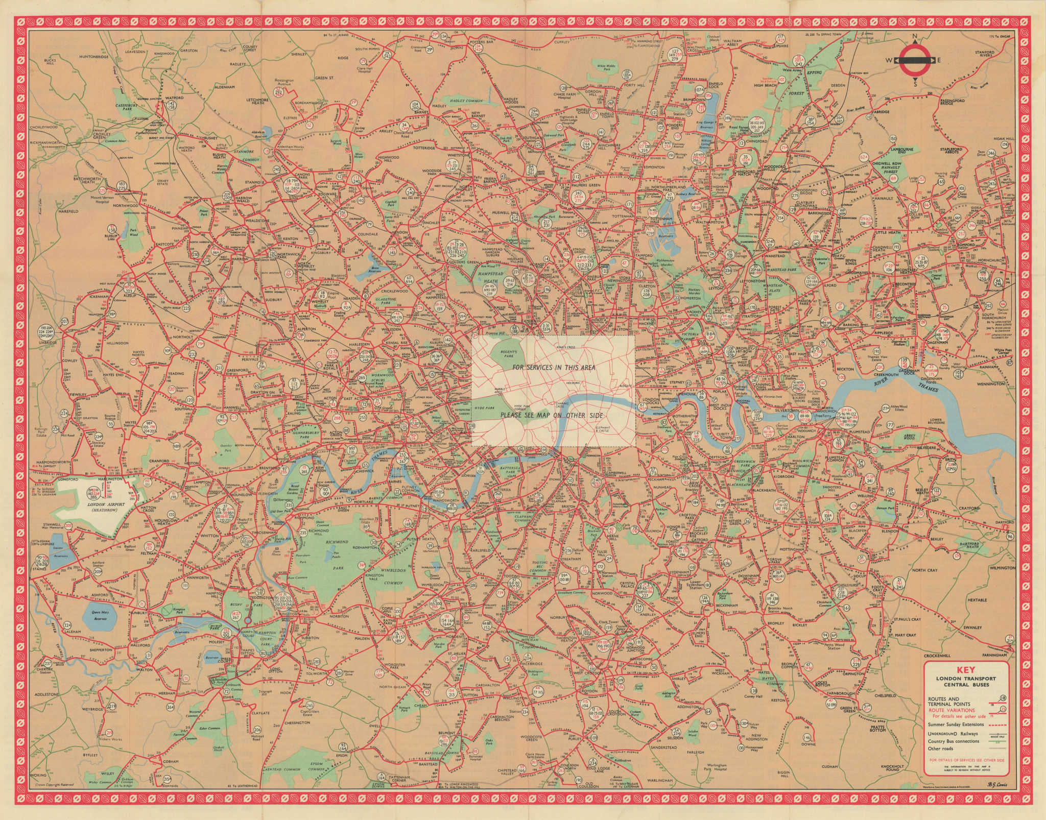 London Transport Central Buses map and list of routes. LEWIS #3R 1962 old