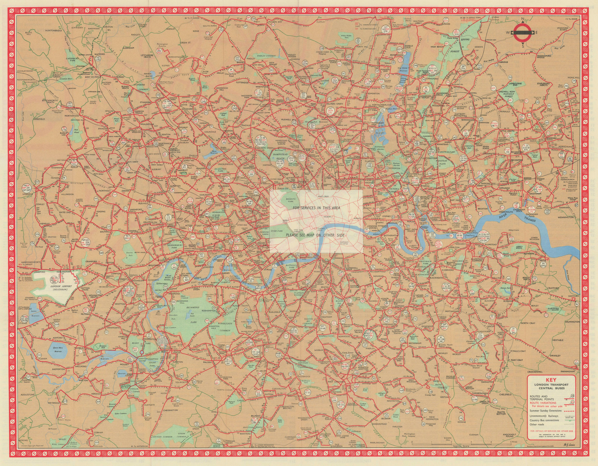 London Transport Central Buses map and list of routes. LEWIS #2 1963 old