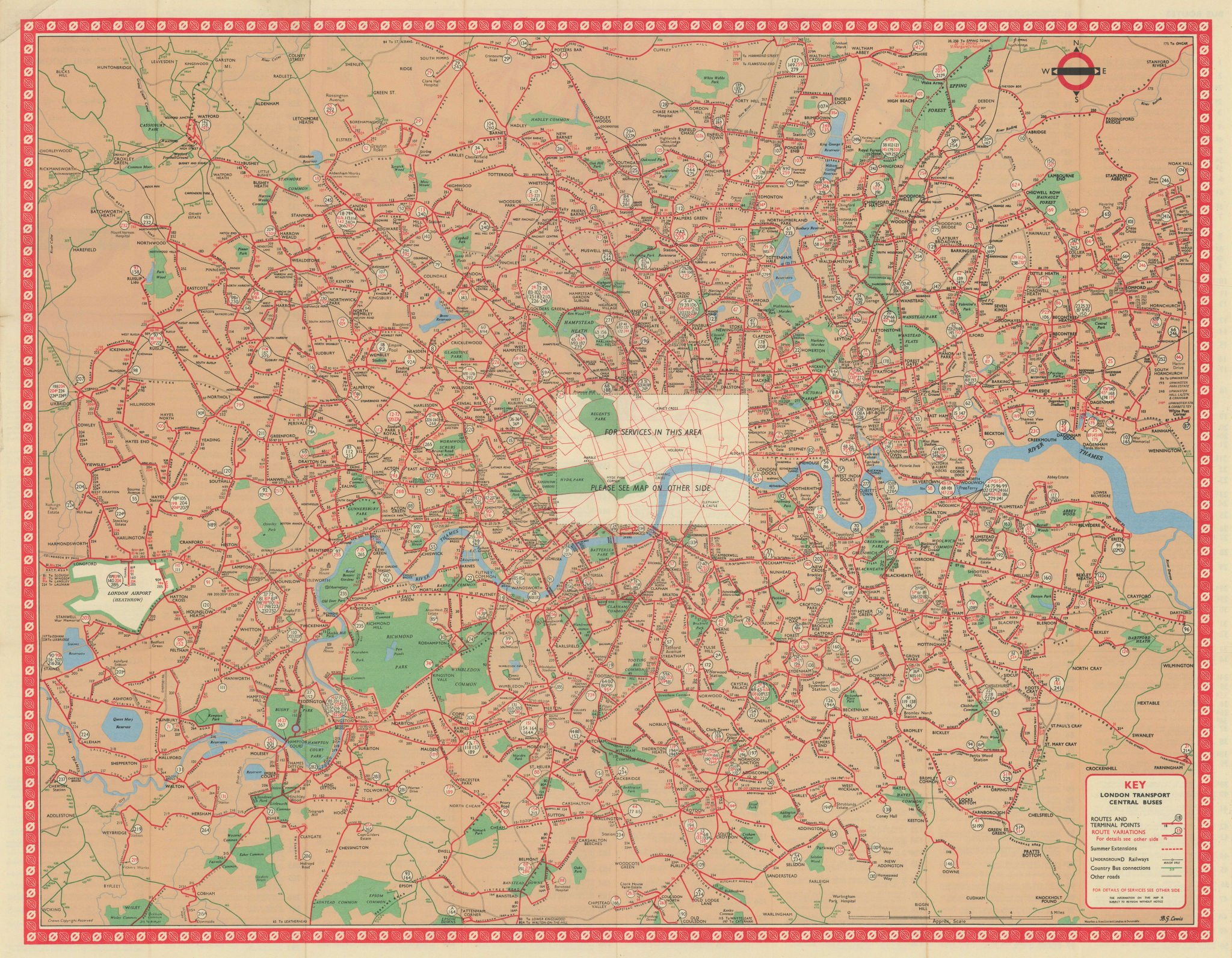 London Transport Central Buses map and list of routes. LEWIS #1 1963 old