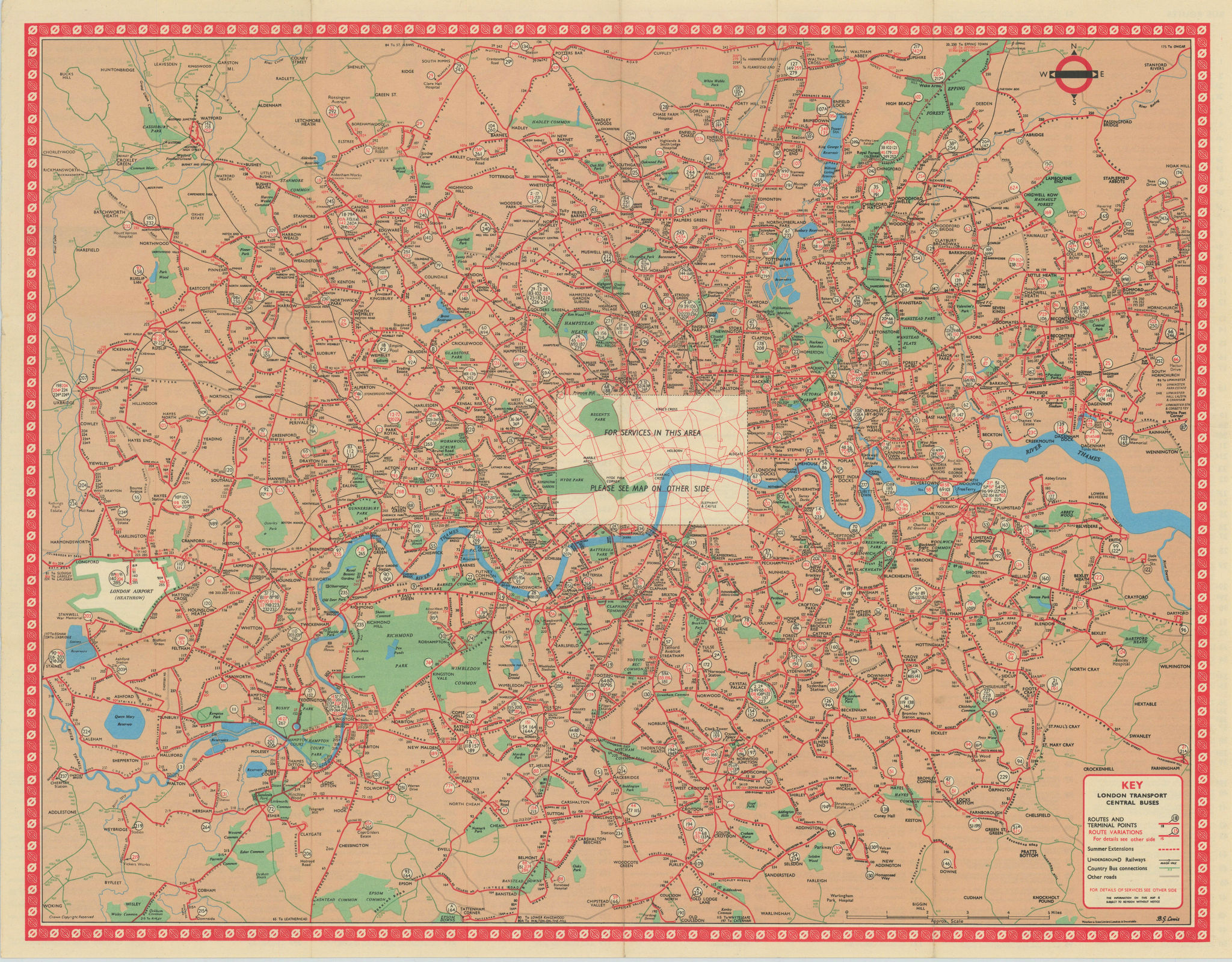 London Transport Central Buses map and list of routes. LEWIS #2 1964 old