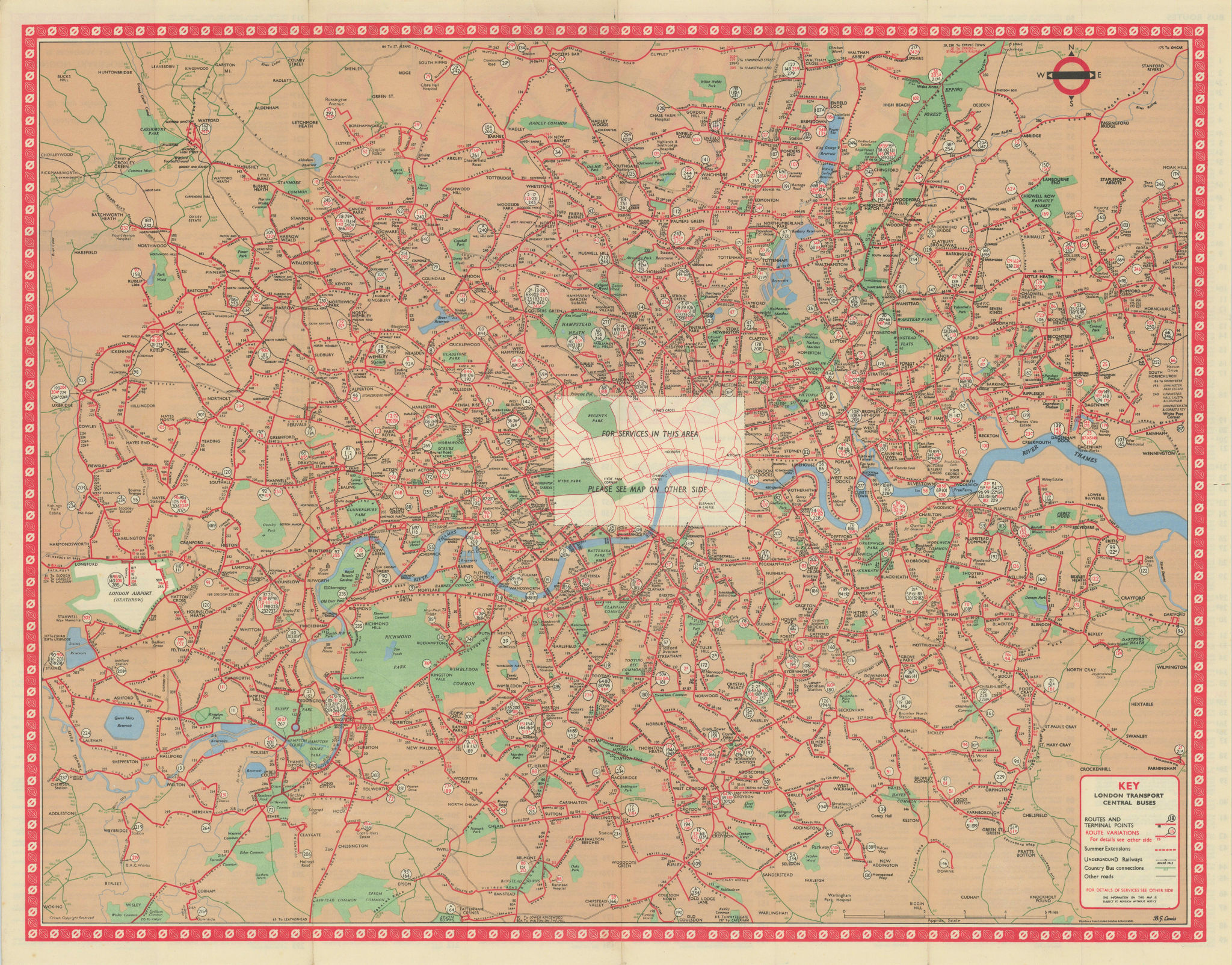 London Transport Central Buses map and list of routes. LEWIS #3 1964 old