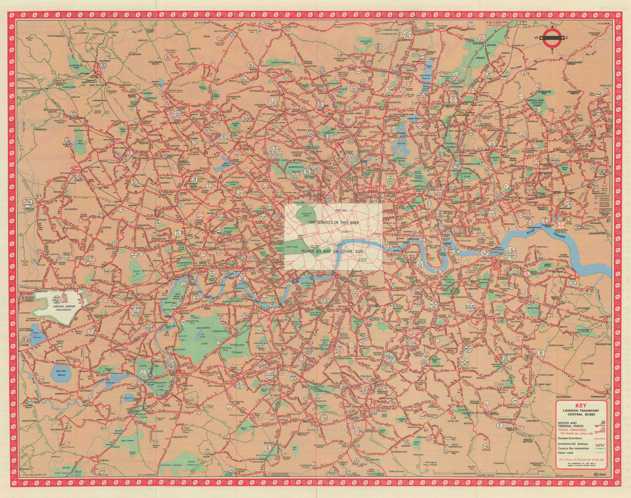 London Transport Central Buses map and list of routes. LEWIS #1 1965 old