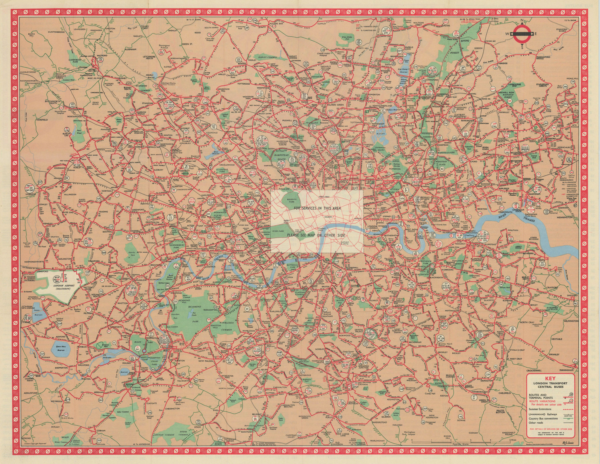 London Transport Central Buses map and list of routes. LEWIS #1R 1965 old