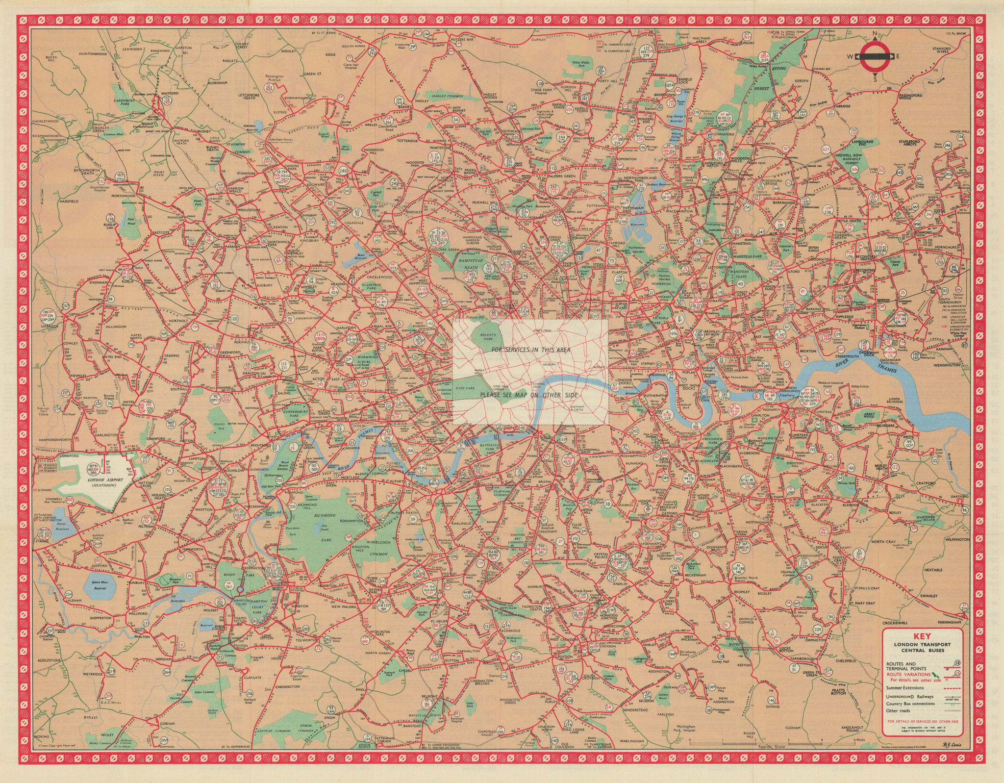 London Transport Central Buses map and list of routes. LEWIS #2 1965 old