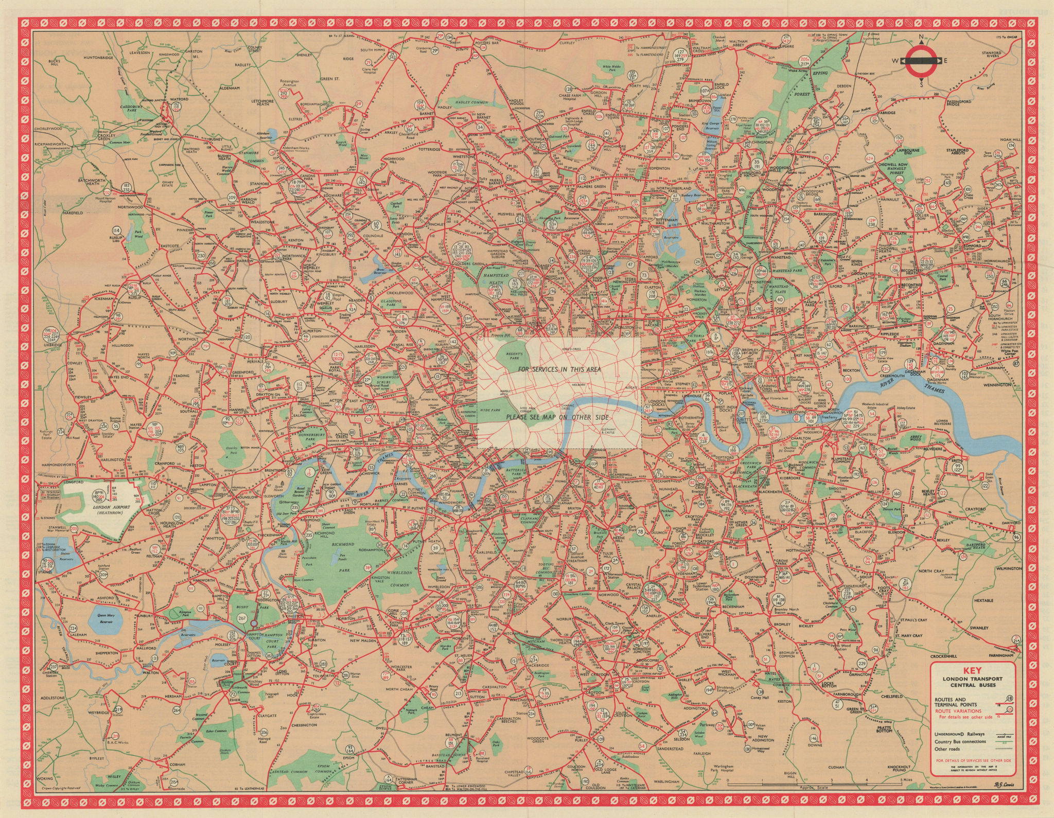 London Transport Central Buses map and list of routes. LEWIS #1 1966 old