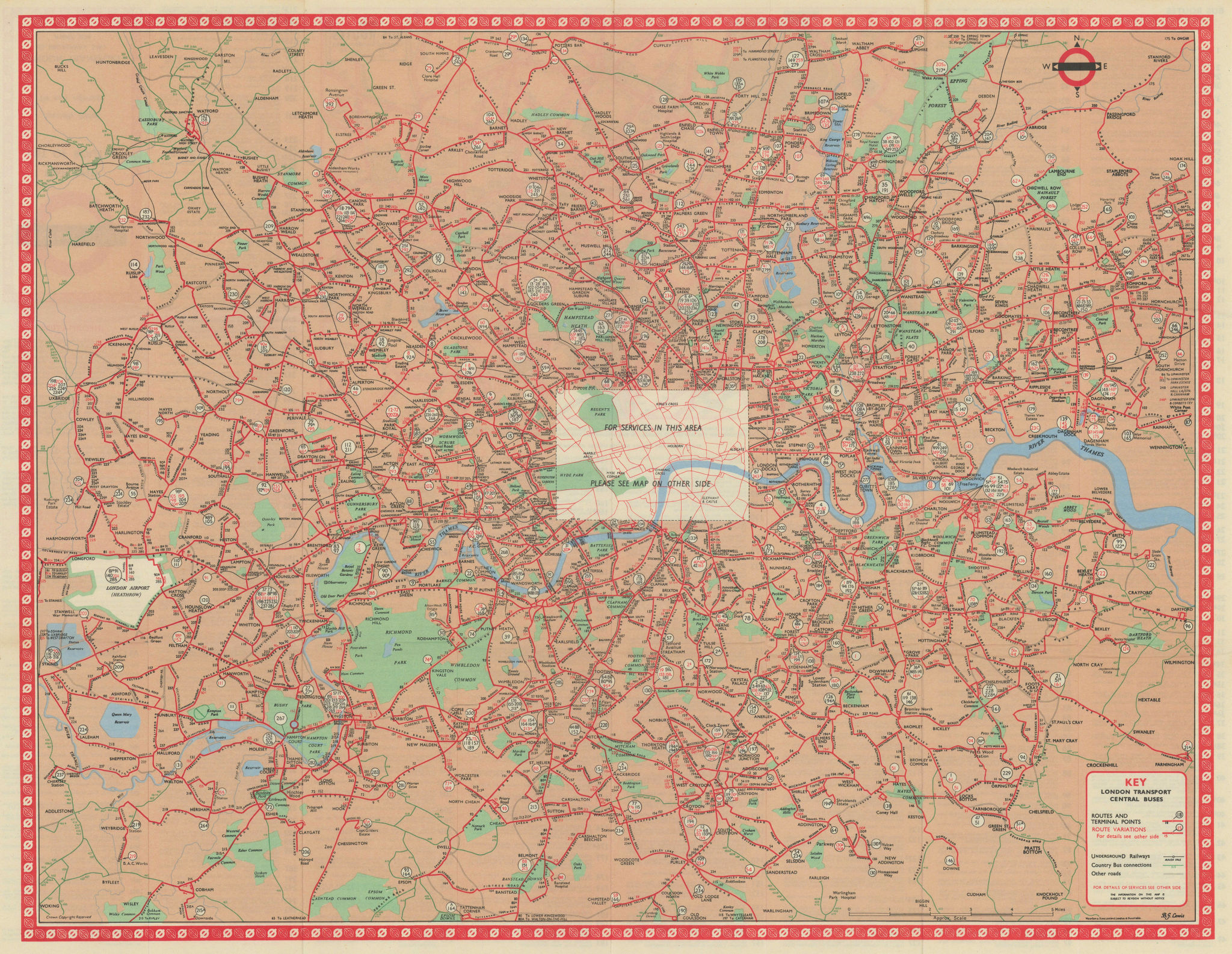 London Transport Central Buses map and list of routes. LEWIS #3 1966 old