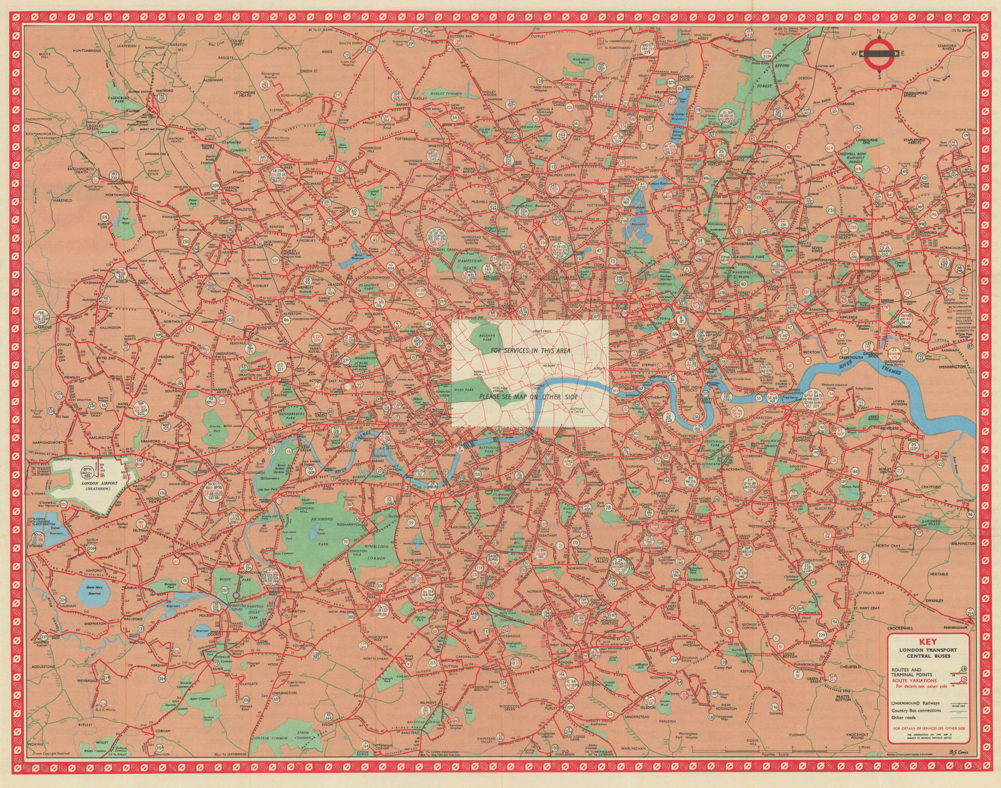 London Transport Central Buses map and list of routes. LEWIS #1 1967 old