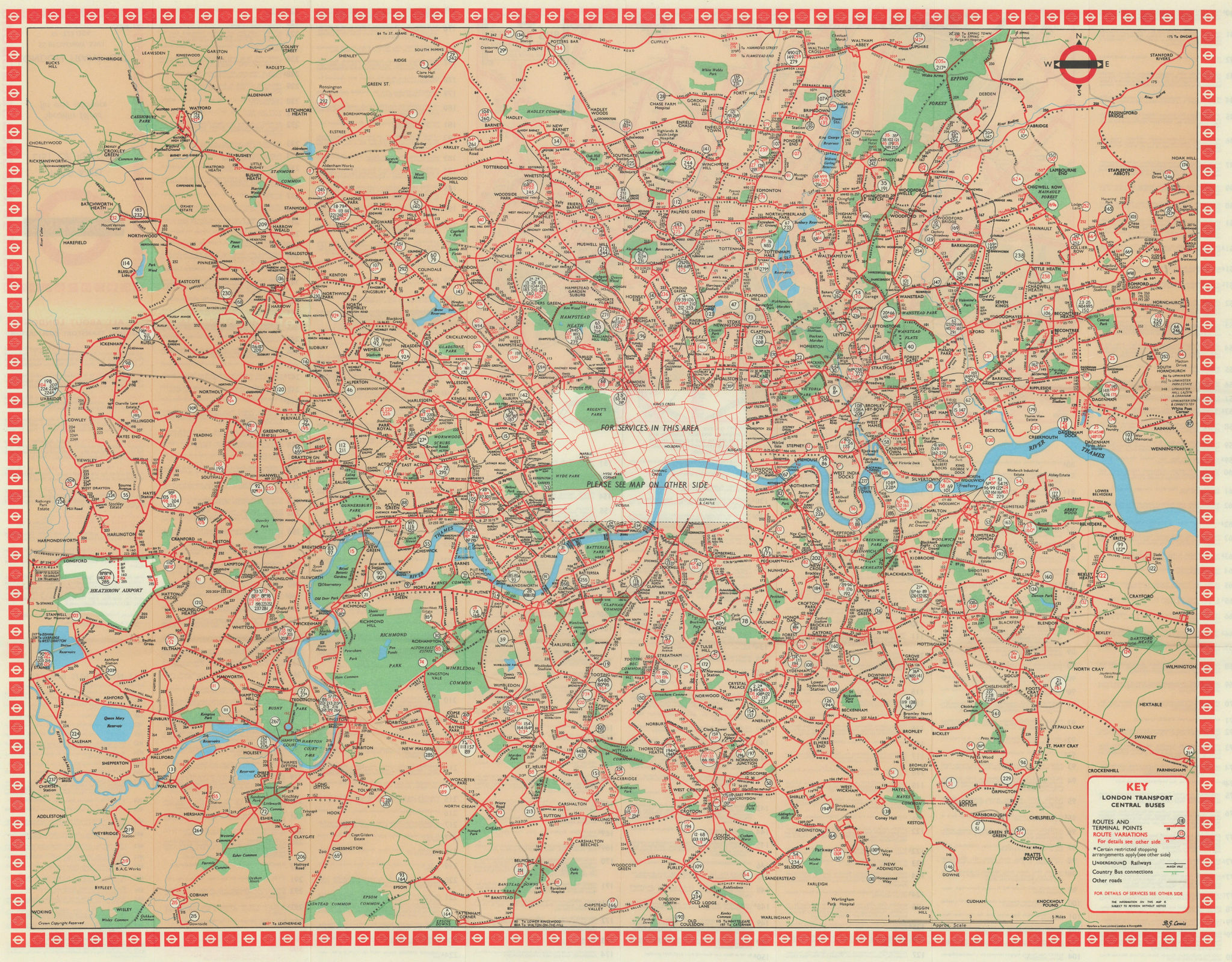 London Transport Central Buses map and list of routes. LEWIS 1968 old