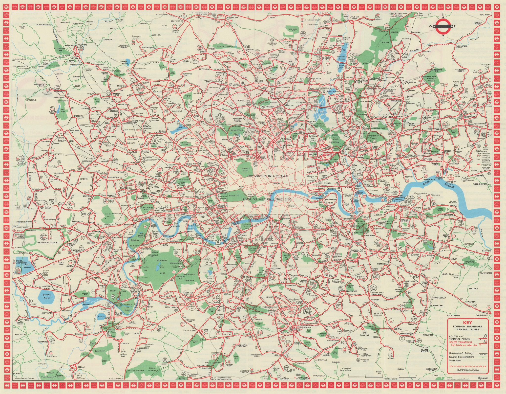 London Transport Central Buses map and list of routes. LEWIS #2 1969 old