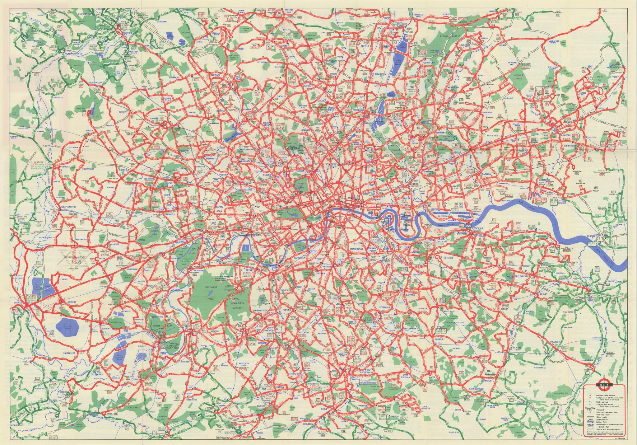 London Transport Central Buses map & list of routes. PENROSE #1 1969 old