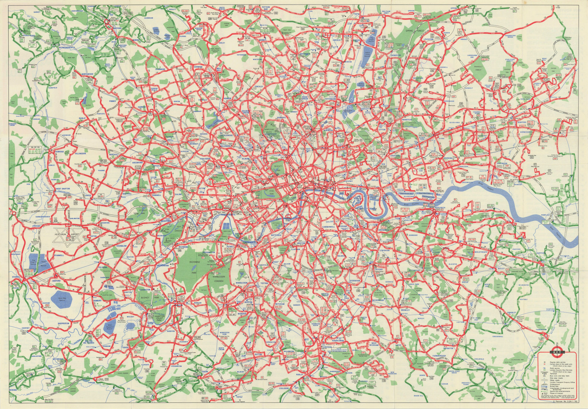 London Transport Central Buses map & list of routes. PENROSE #2 1970 old