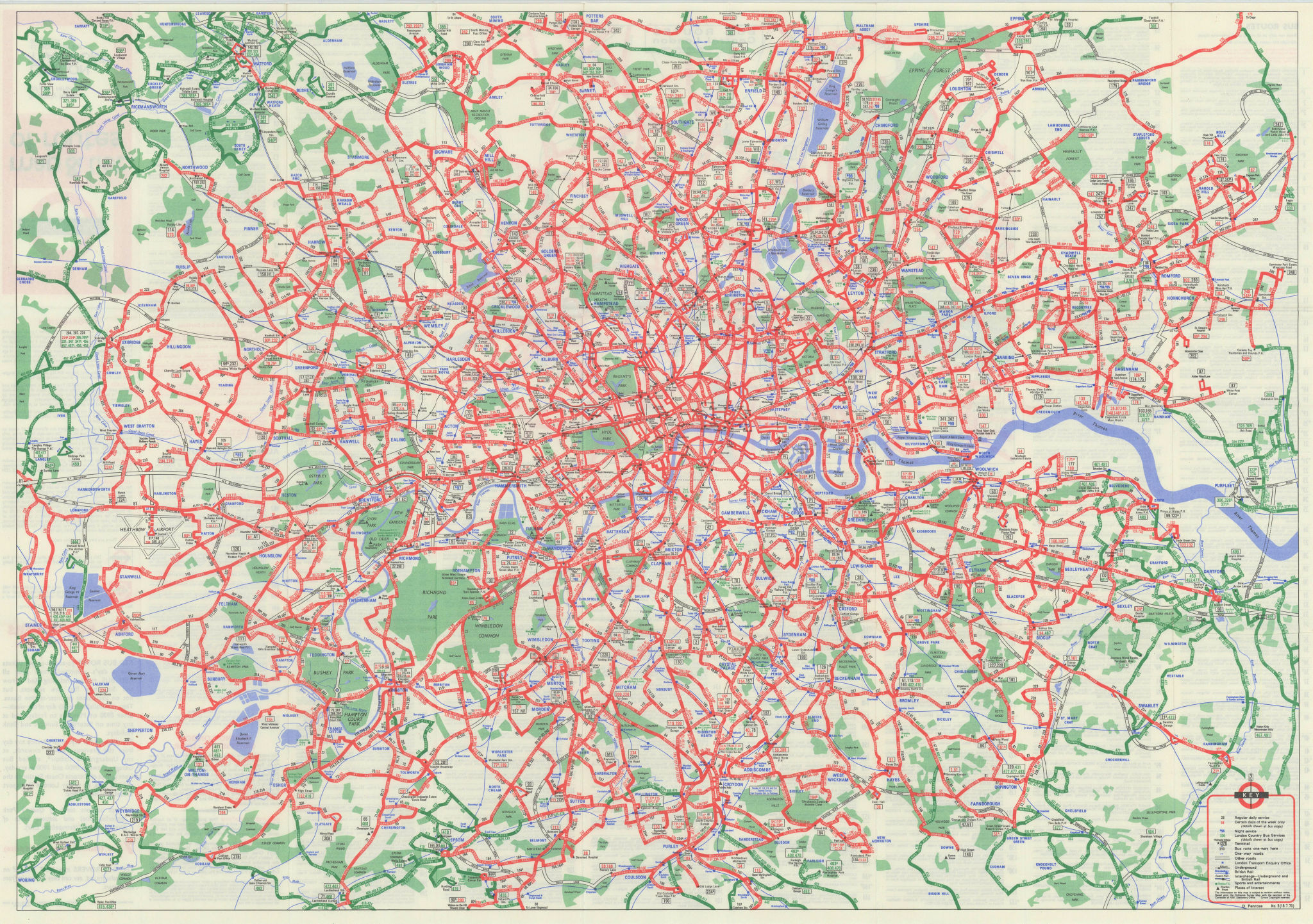 London Transport - London Buses map & list of routes. PENROSE #3 1970 old