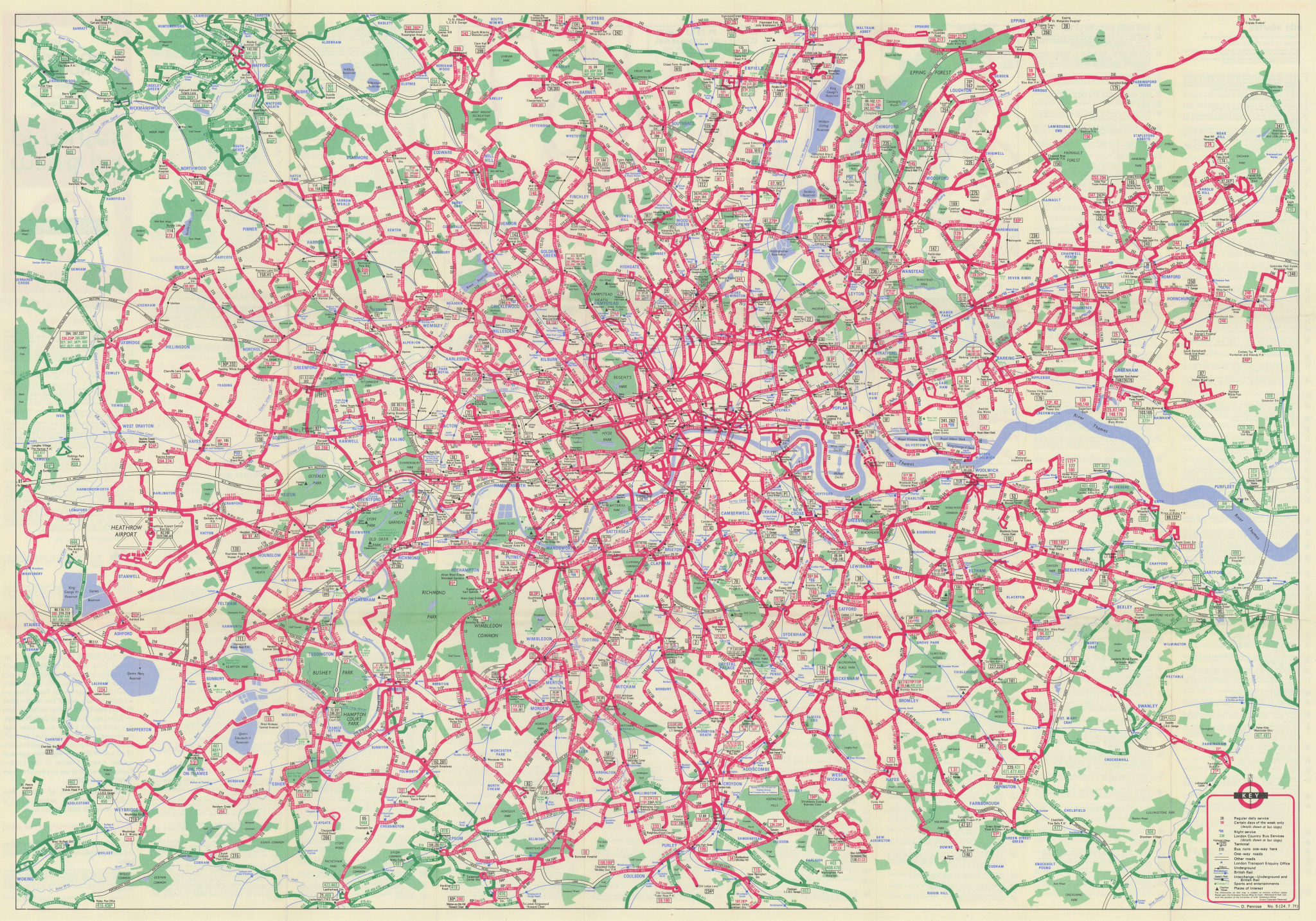 London Transport - London Buses map & list of routes. PENROSE #2 1971 old