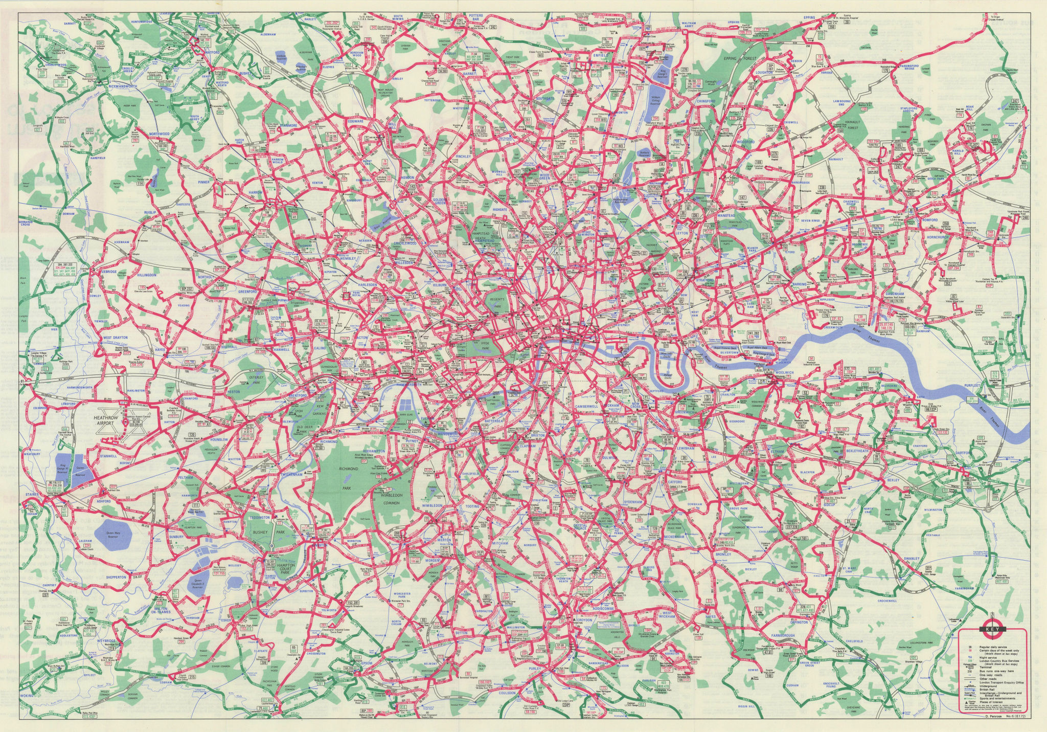 London Transport - London Buses map & list of routes. PENROSE #1 1972 old