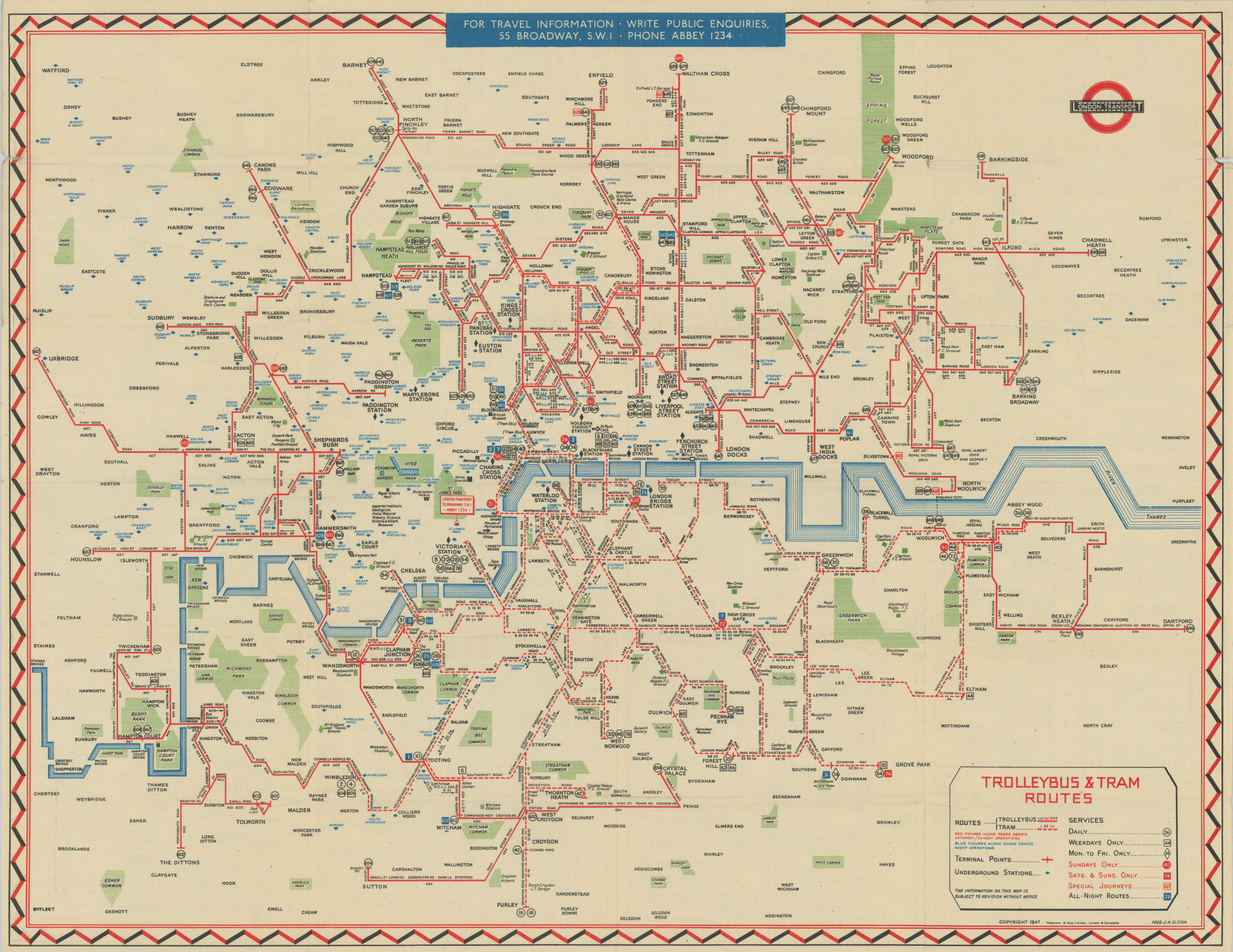 London Transport Trolleybus & Tram map of Routes. ELSTON. #1 1947 old