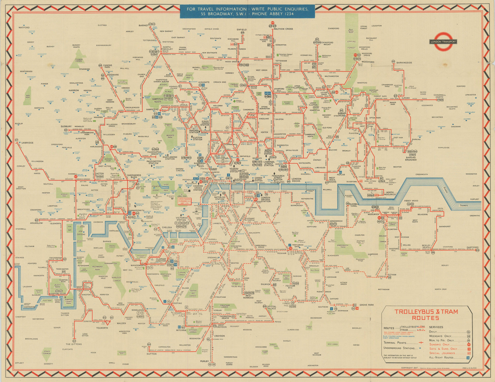 London Transport Trolleybus & Tram map of Routes. ELSTON. #2 1947 old
