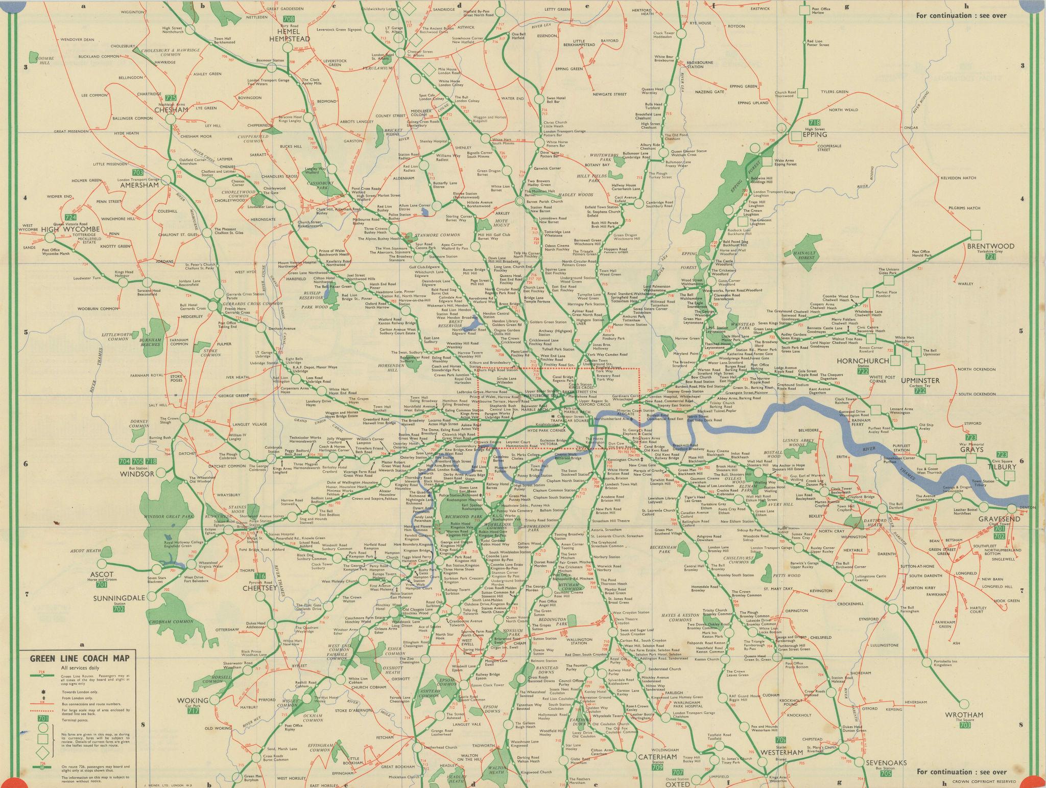 London Transport Green Line Coach map. #1 1947 old vintage plan chart