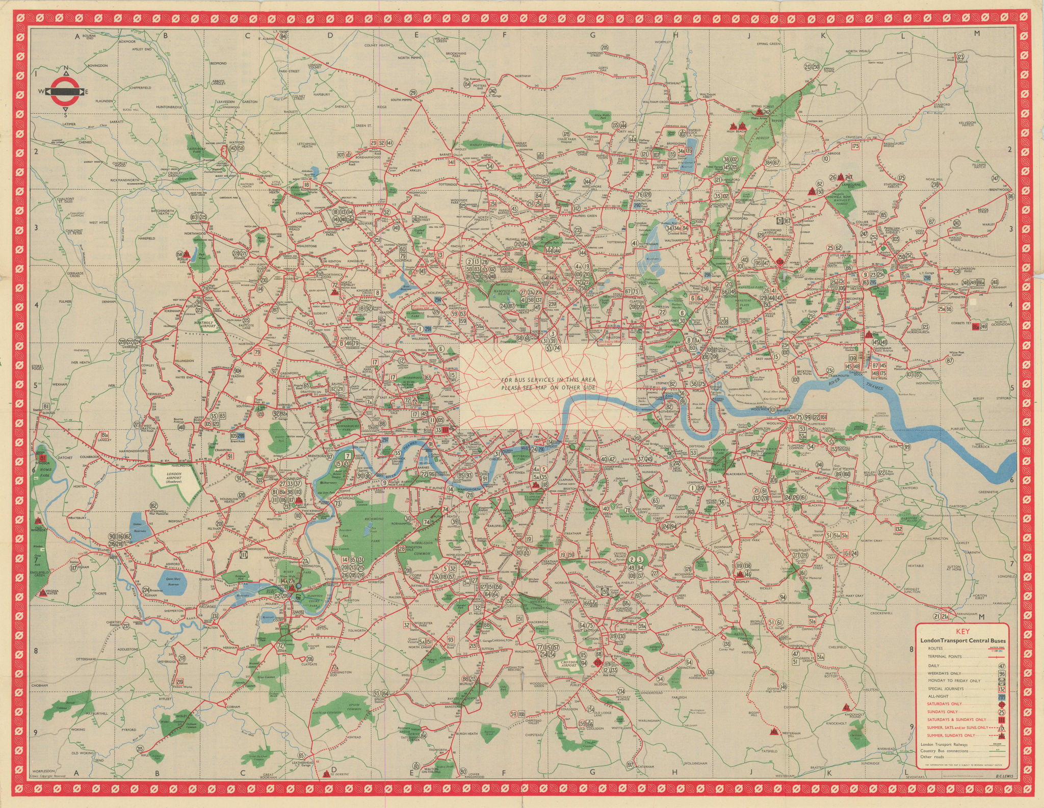 London Transport Bus map Central Area. LEWIS. January 1949 old vintage