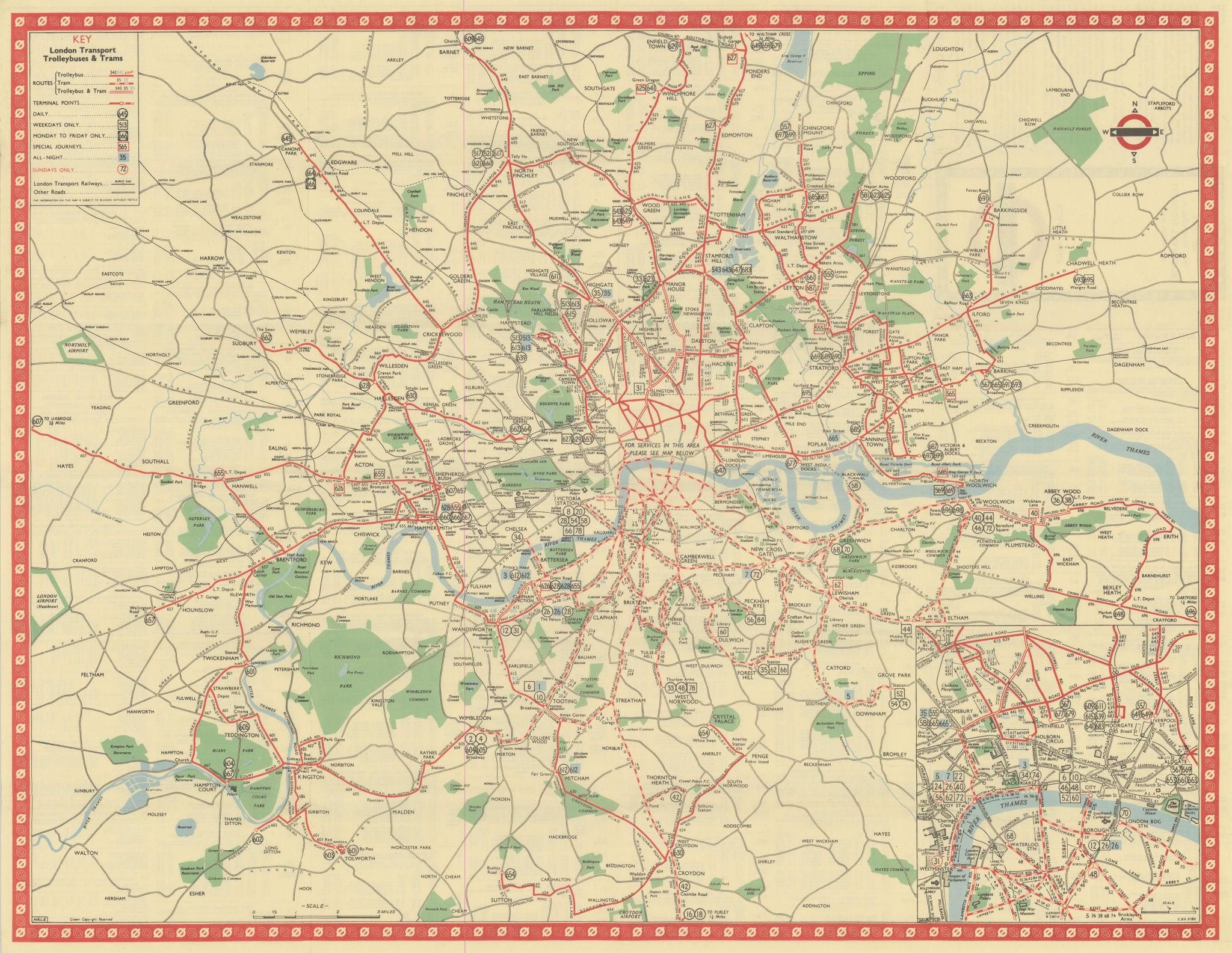 London Transport Trolleybus & Tram route map. HALE. January 1950 old