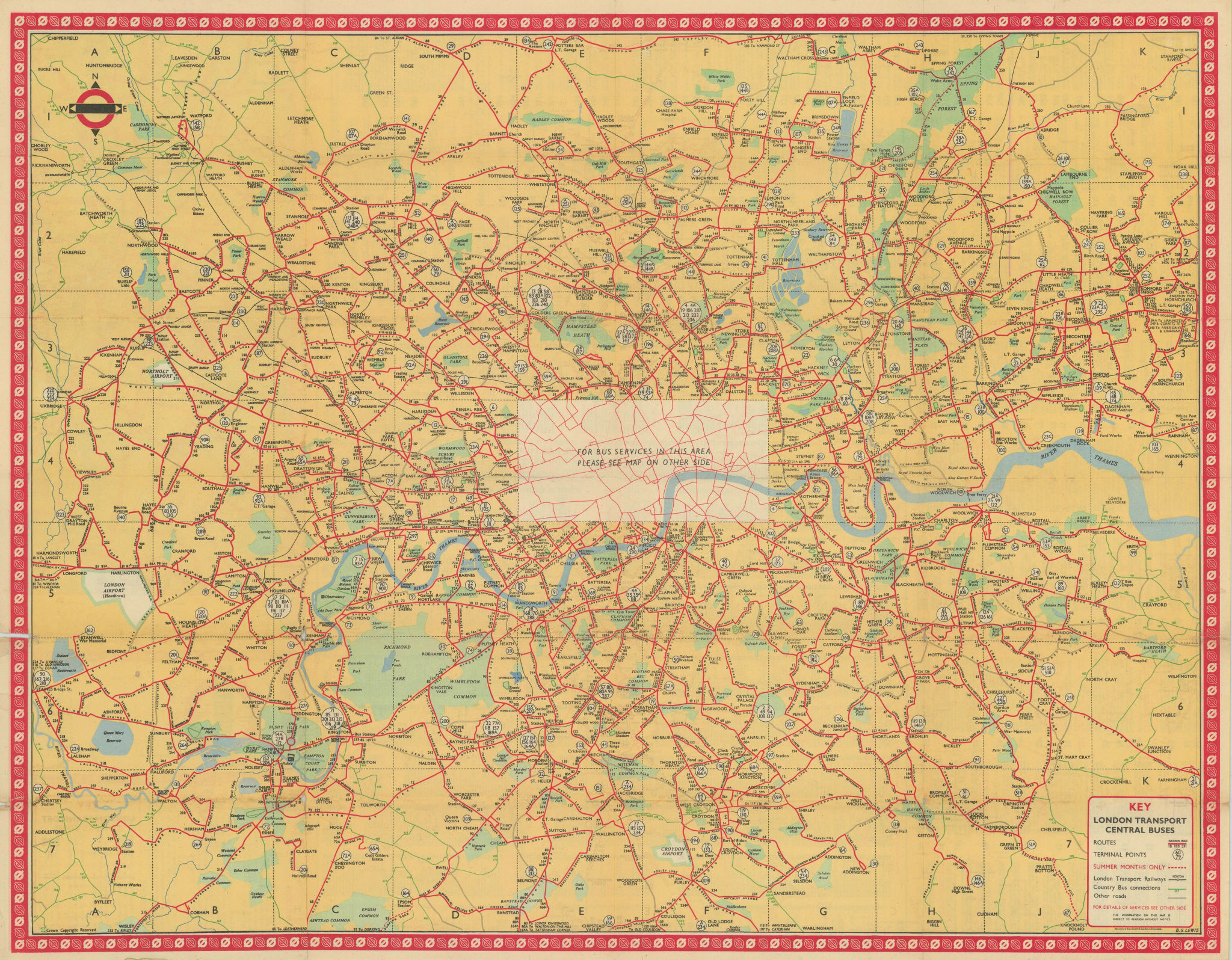 London Transport Bus map Central Area. LEWIS. January 1951 old vintage