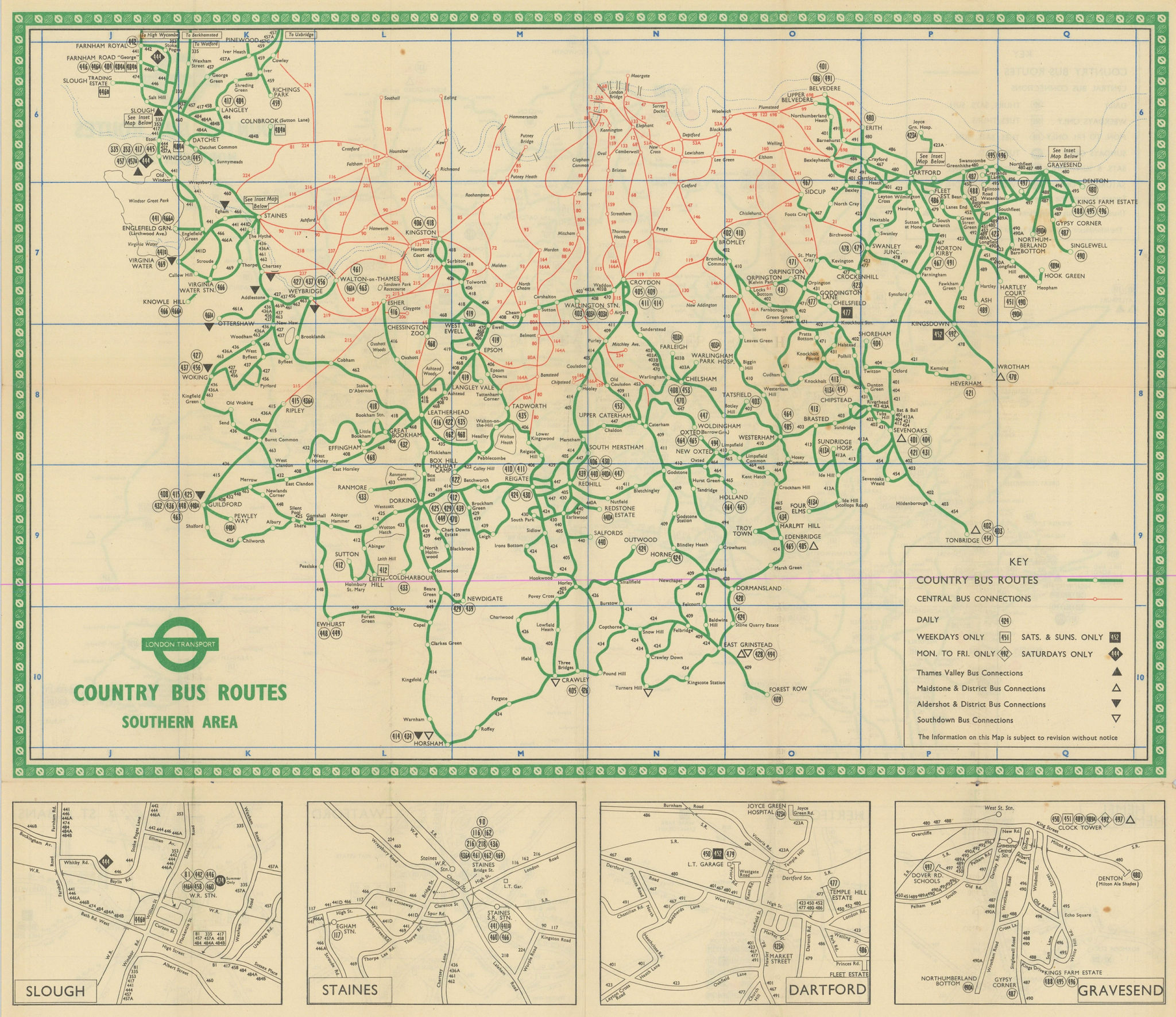 London Transport Bus map Country Area March 1951 old vintage plan chart