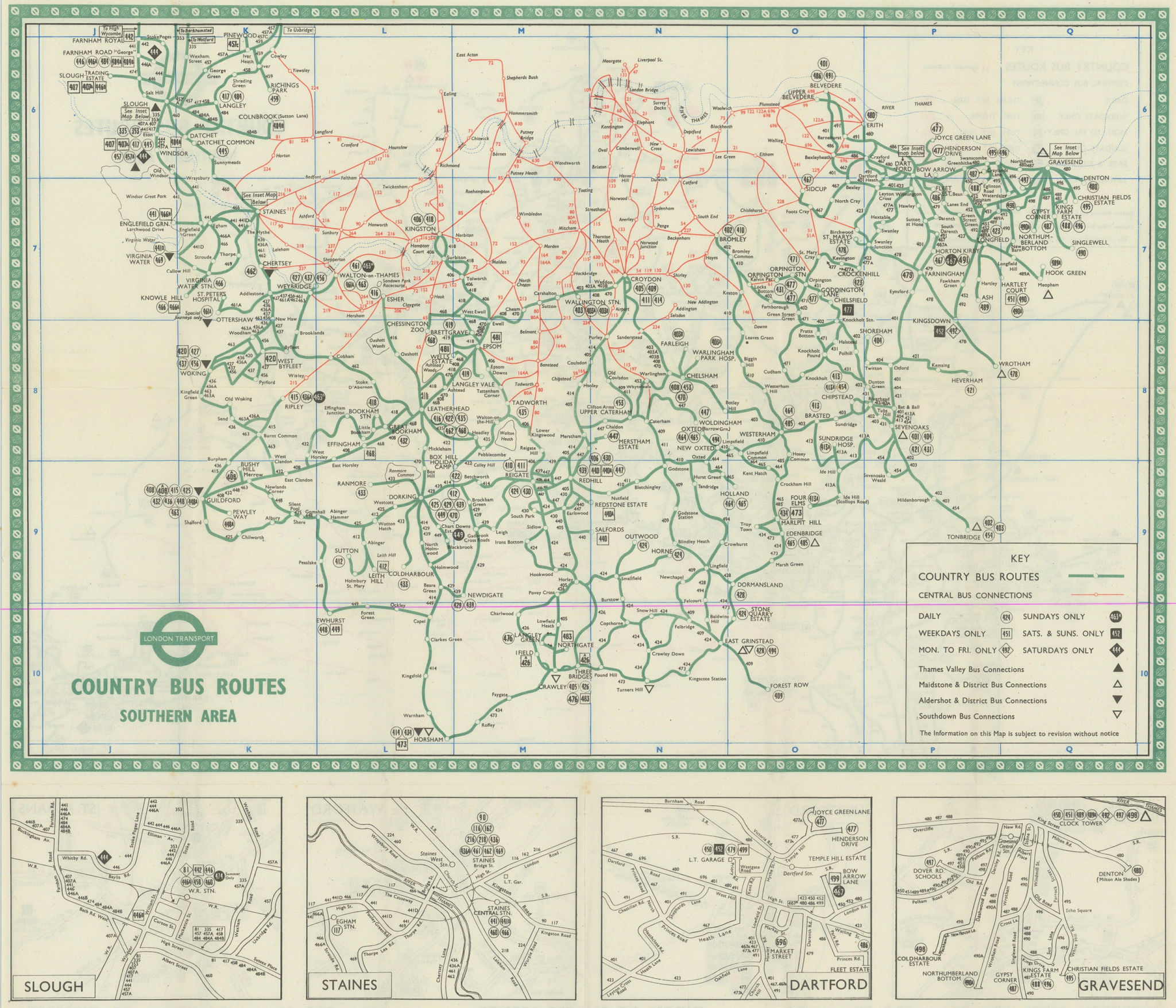 London Transport Bus map Country Area 1956 old vintage plan chart