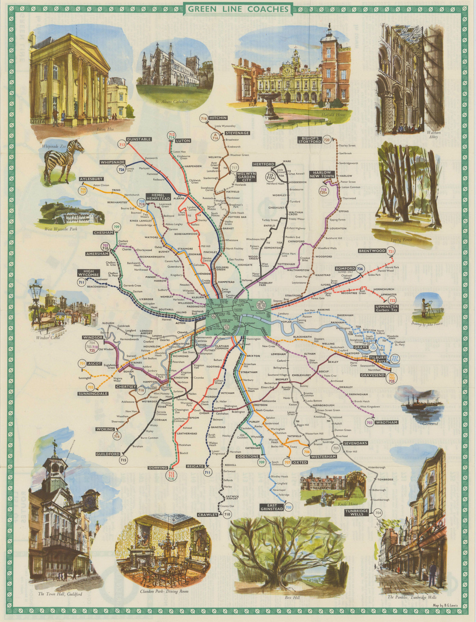 London Transport Green Line Coach Routes. LEWIS 1962 old vintage map chart