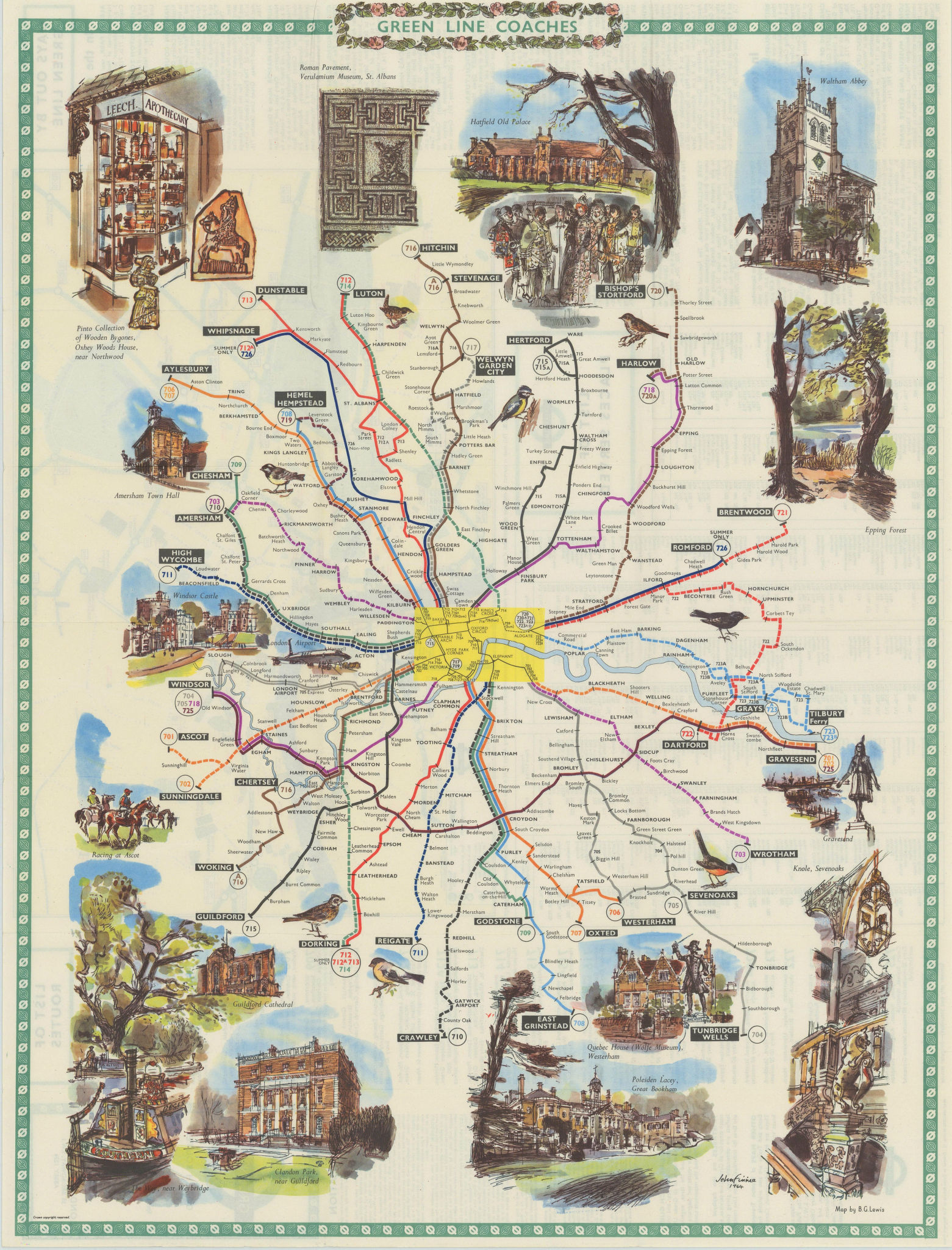 London Transport Green Line Coach Routes. LEWIS #1 1964 old vintage map chart