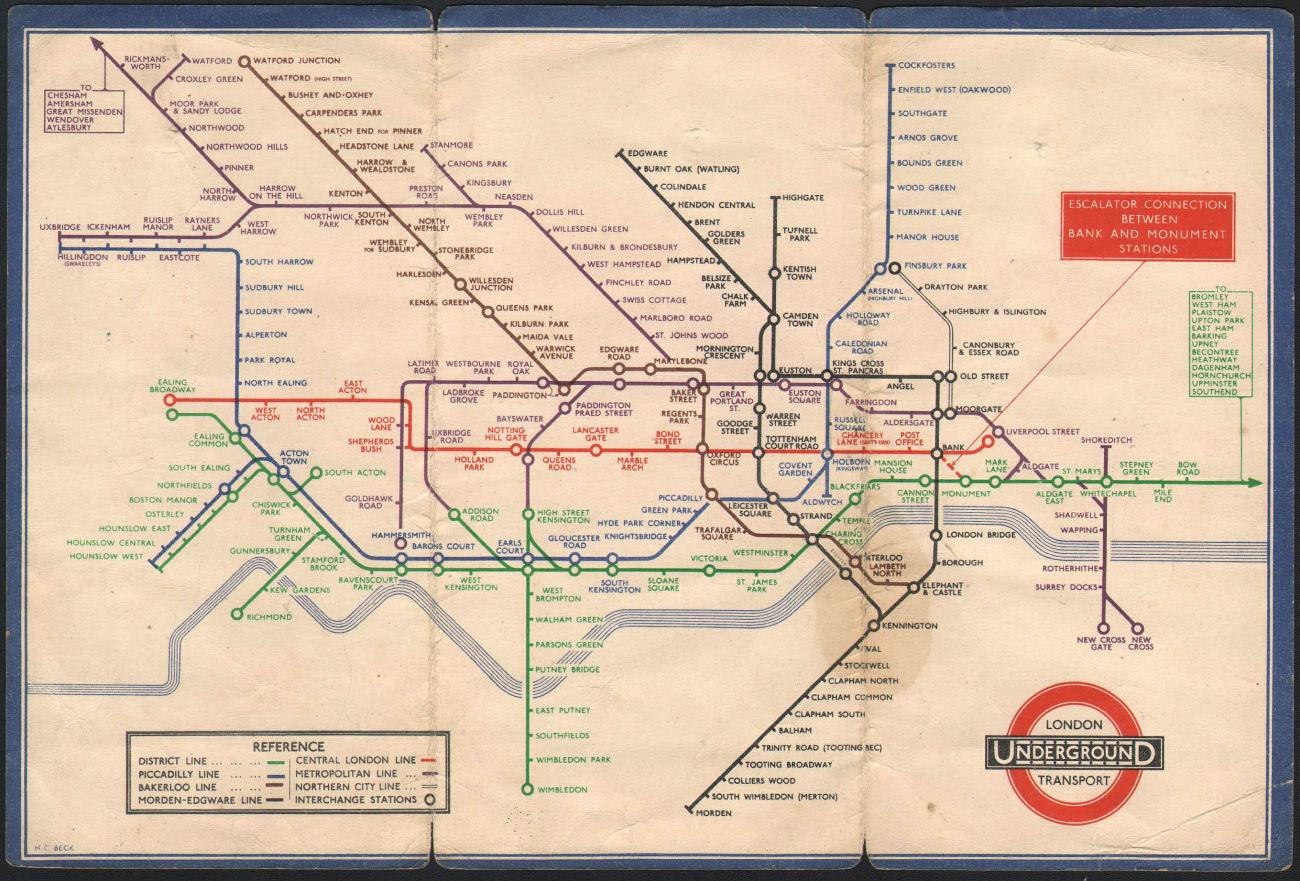 LONDON UNDERGROUND tube map plan diagram. Middle Circle. HARRY BECK #2 1934