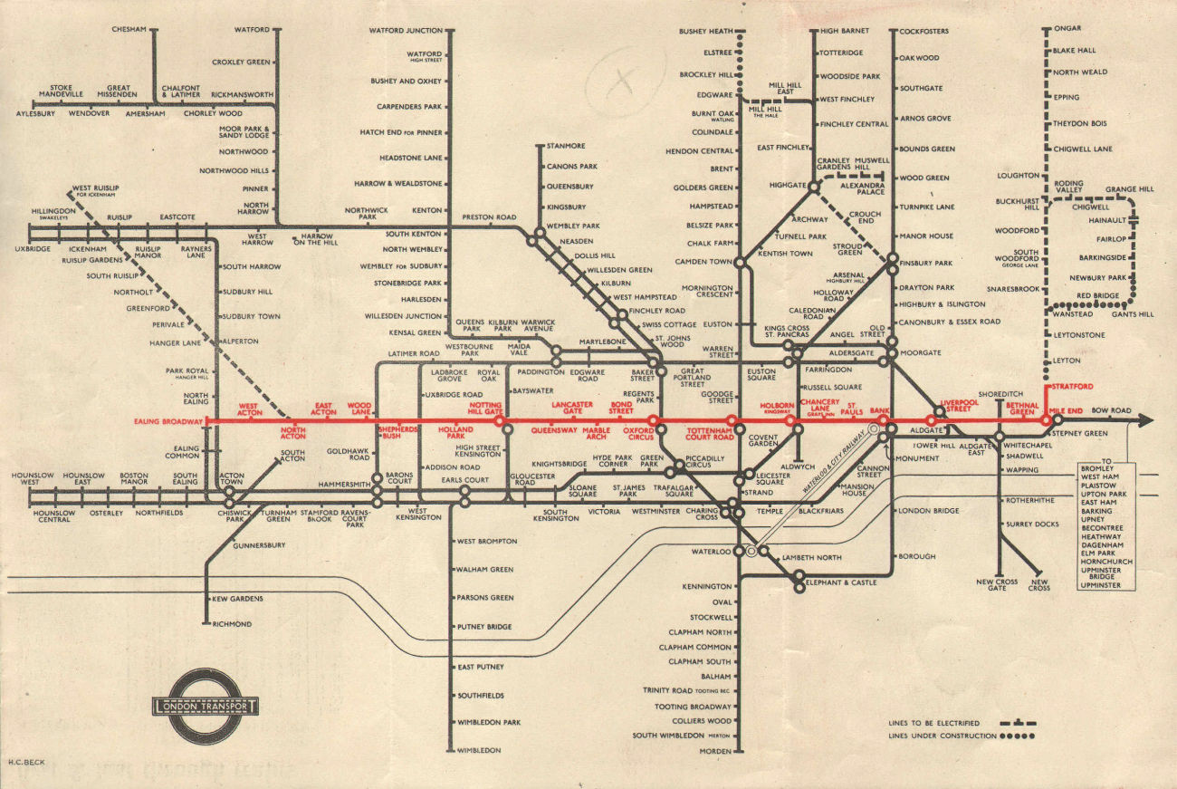 LONDON UNDERGROUND tube map plan. Central Line extension to Stratford. BECK 1946