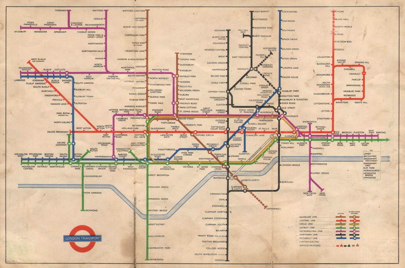 LONDON UNDERGROUND tube map plan. Alexandra Palace. South Acton. HARRY BECK 1950