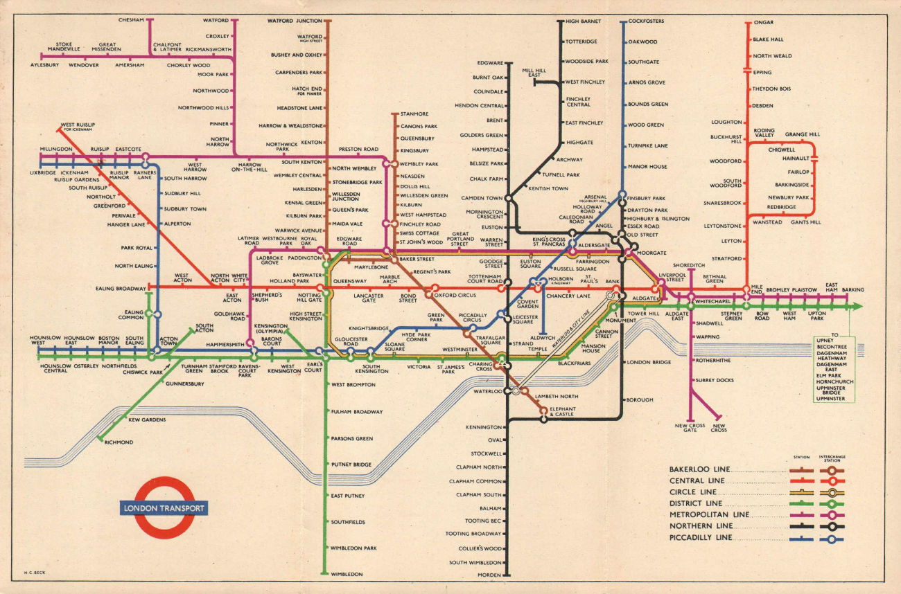 LONDON UNDERGROUND diagram of lines tube plan map. South Acton. HARRY BECK 1953