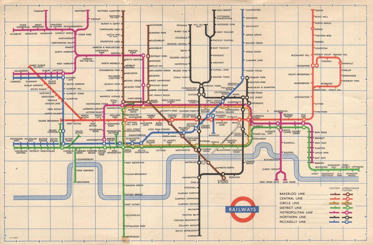 LONDON UNDERGROUND tube map plan. Aylesbury. South Acton. HARRY BECK 1955