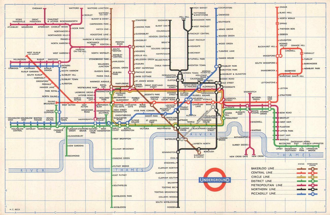 LONDON UNDERGROUND tube map plan No South Acton. Aylesbury Ongar HARRY BECK 1959