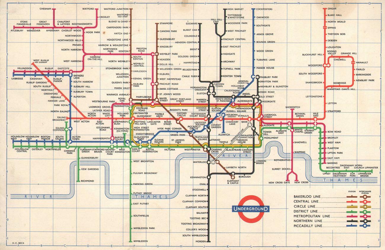 LONDON UNDERGROUND tube map plan diagram. Final HARRY BECK edition 1960
