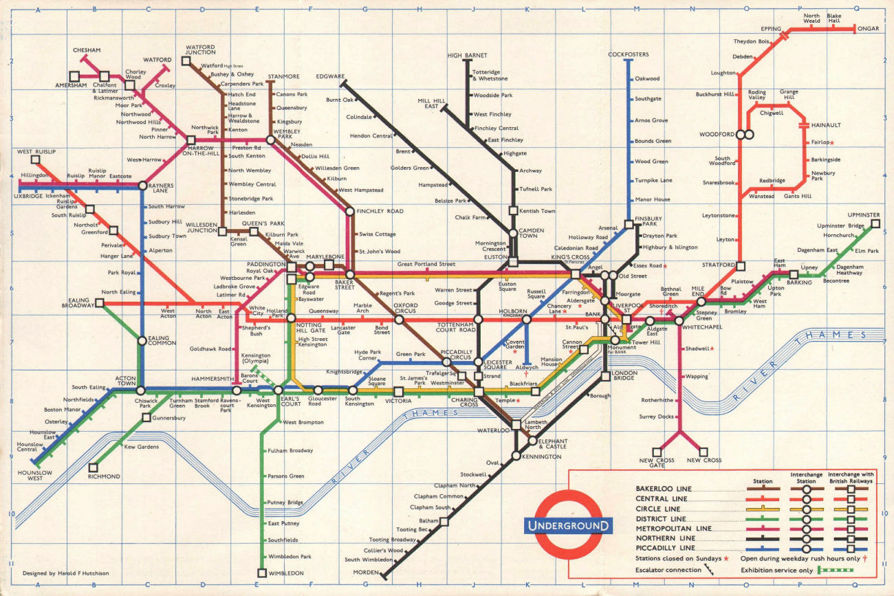 LONDON UNDERGROUND tube map plan. 1st HAROLD HUTCHISON version. September 1961
