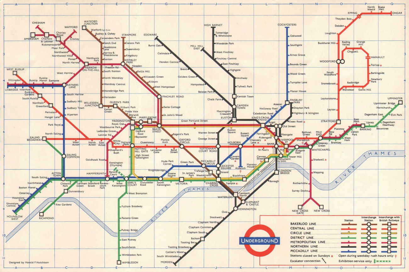 LONDON UNDERGROUND diagram of lines tube map. Ongar. Essex Rd. HUTCHISON 1962
