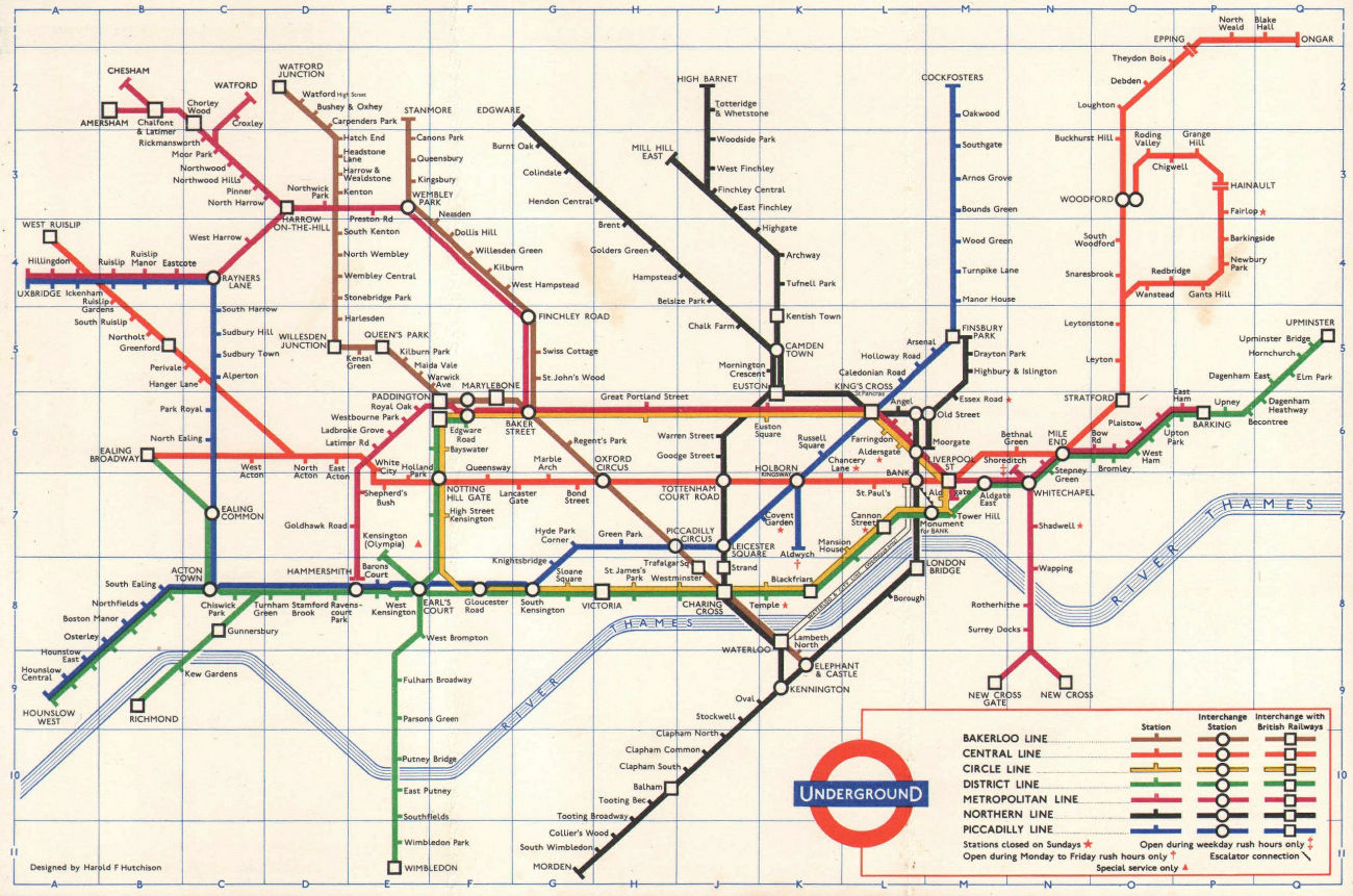 LONDON UNDERGROUND diagram of lines tube map. Ongar. Essex Rd. HUTCHISON 1963