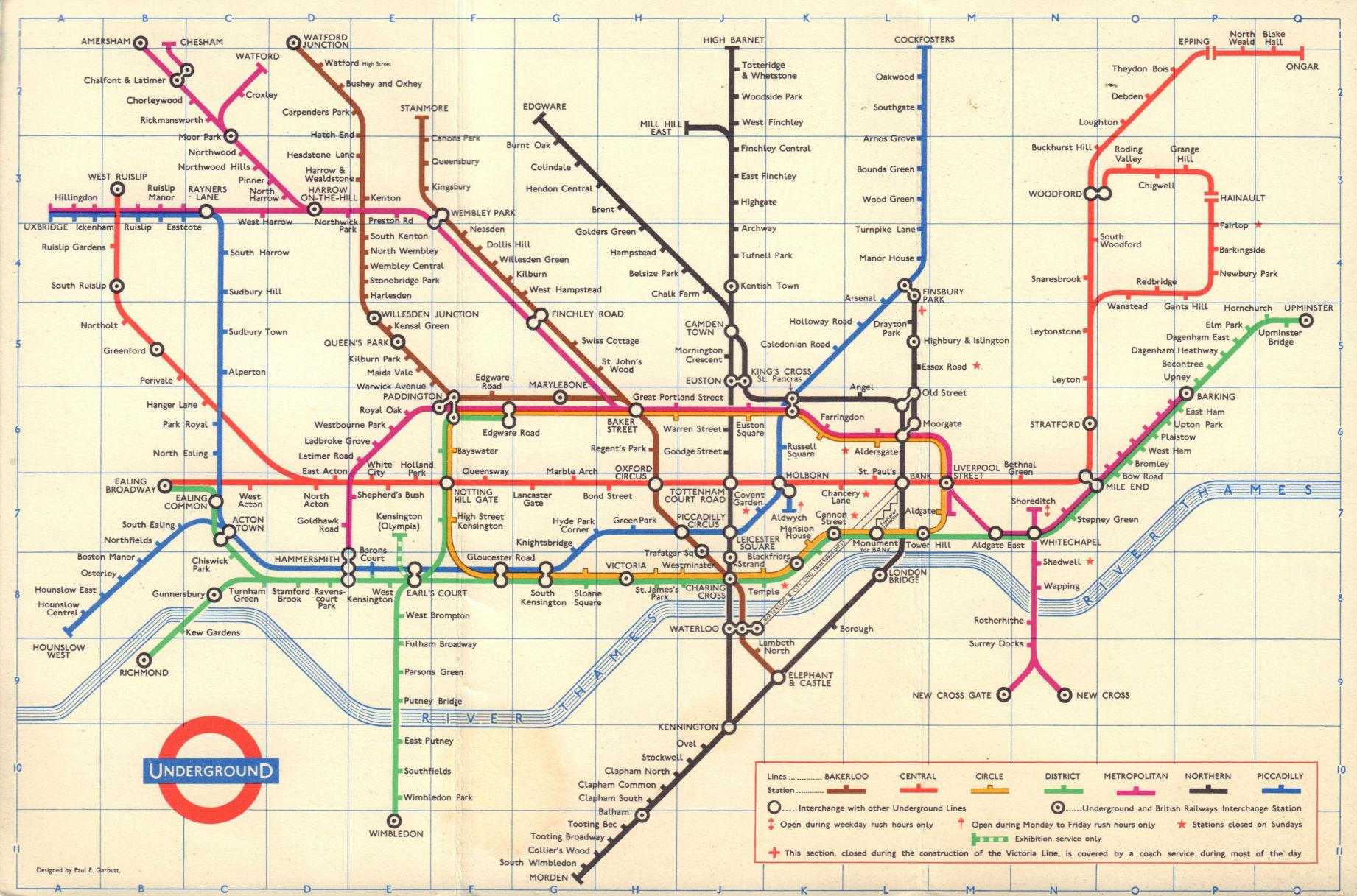LONDON UNDERGROUND diagram of lines tube map. Ongar. Essex Rd. GARBUTT 1965